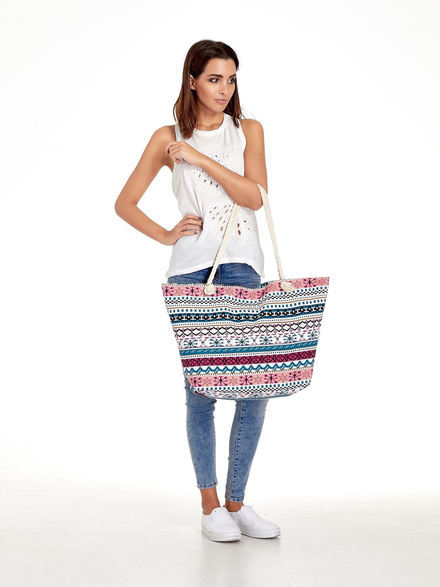 Różowa torba plażowa w azteckie wzory                                  zdj.                                  2