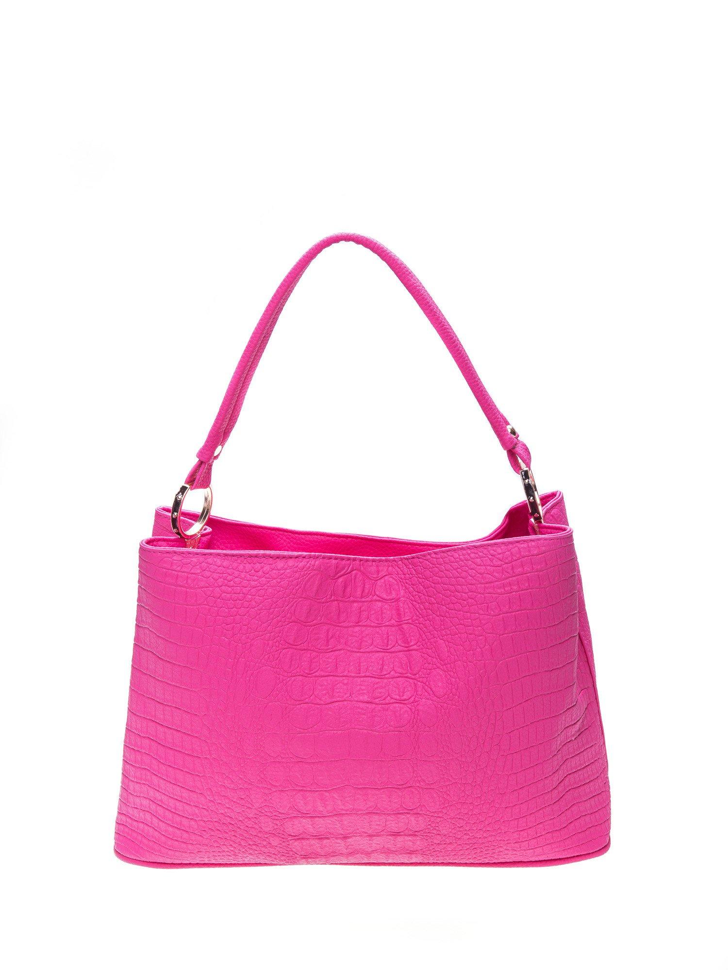 Różowa torebka na ramię tłoczona na wzór skóry krokodyla                                  zdj.                                  1