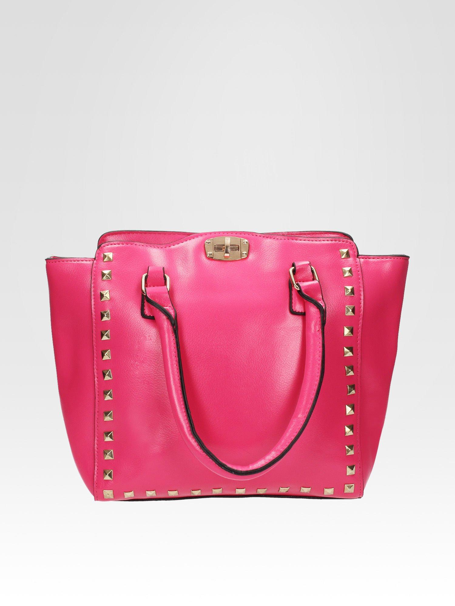 Różowa torebka na ramię z dżetami                                  zdj.                                  1