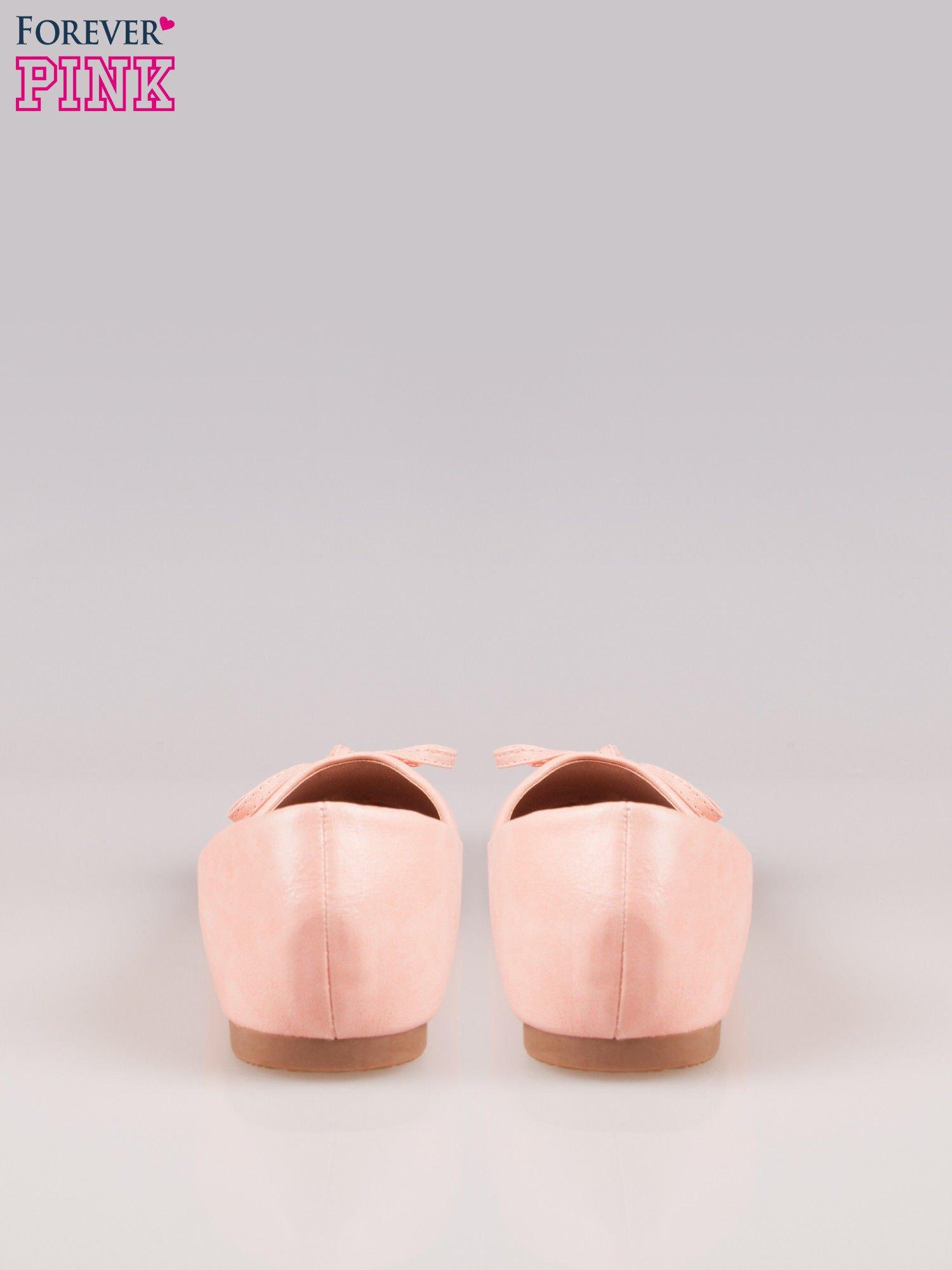 Różowe klasyczne balerinki z kokardką                                  zdj.                                  3