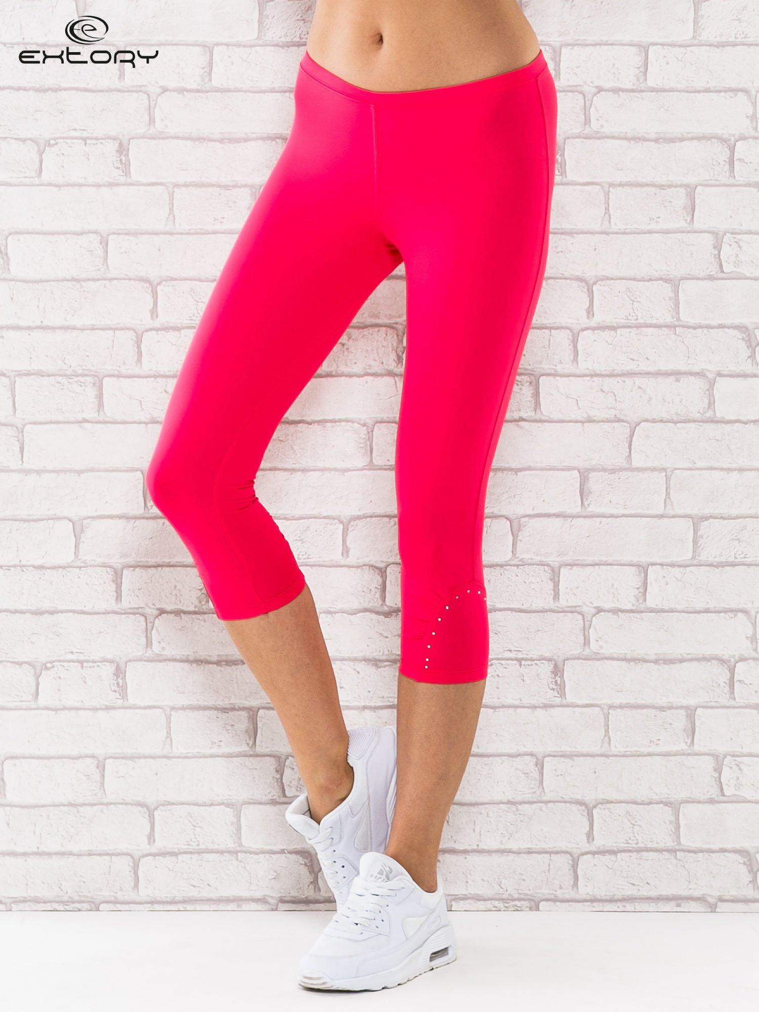 Różowe legginsy sportowe termalne z dżetami na nogawkach                                  zdj.                                  1