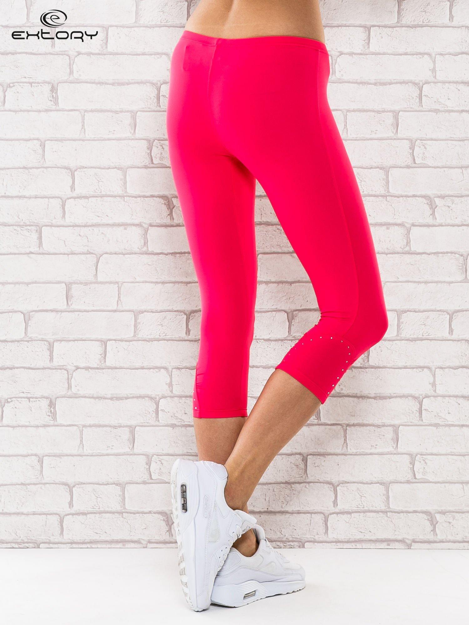 Różowe legginsy sportowe termalne z dżetami na nogawkach                                  zdj.                                  3