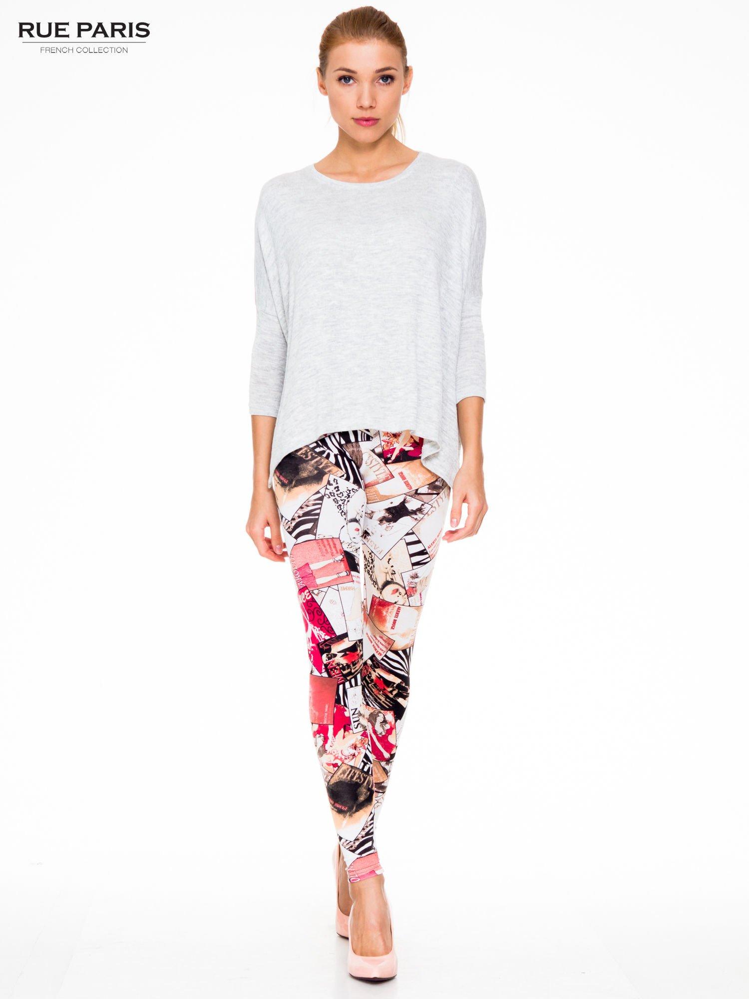 Różowe legginsy z nadrukiem magazines print                                  zdj.                                  2