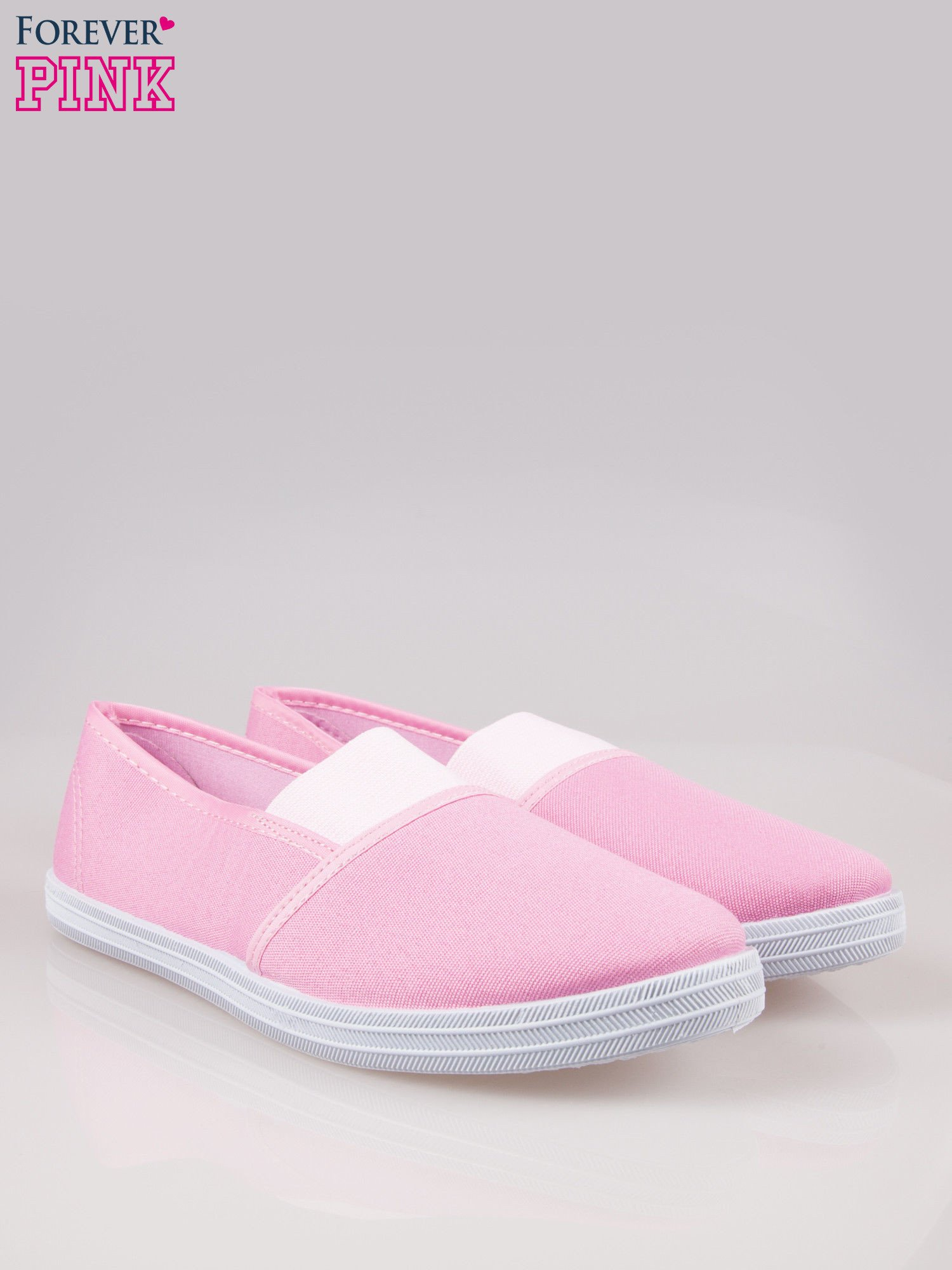 Różowe miękkie buty slip on                                  zdj.                                  2