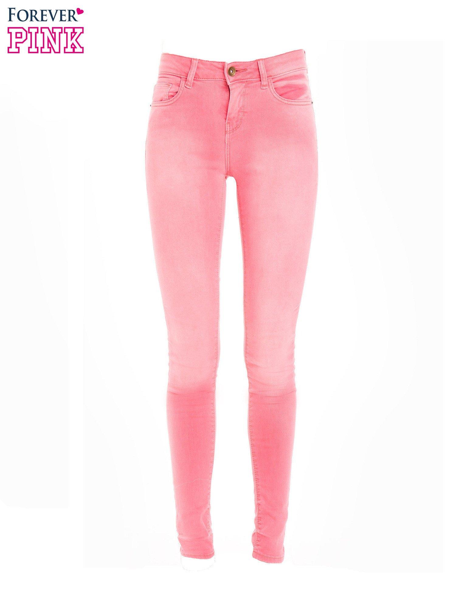 Różowe spodnie jeansowe super skinny                                  zdj.                                  2