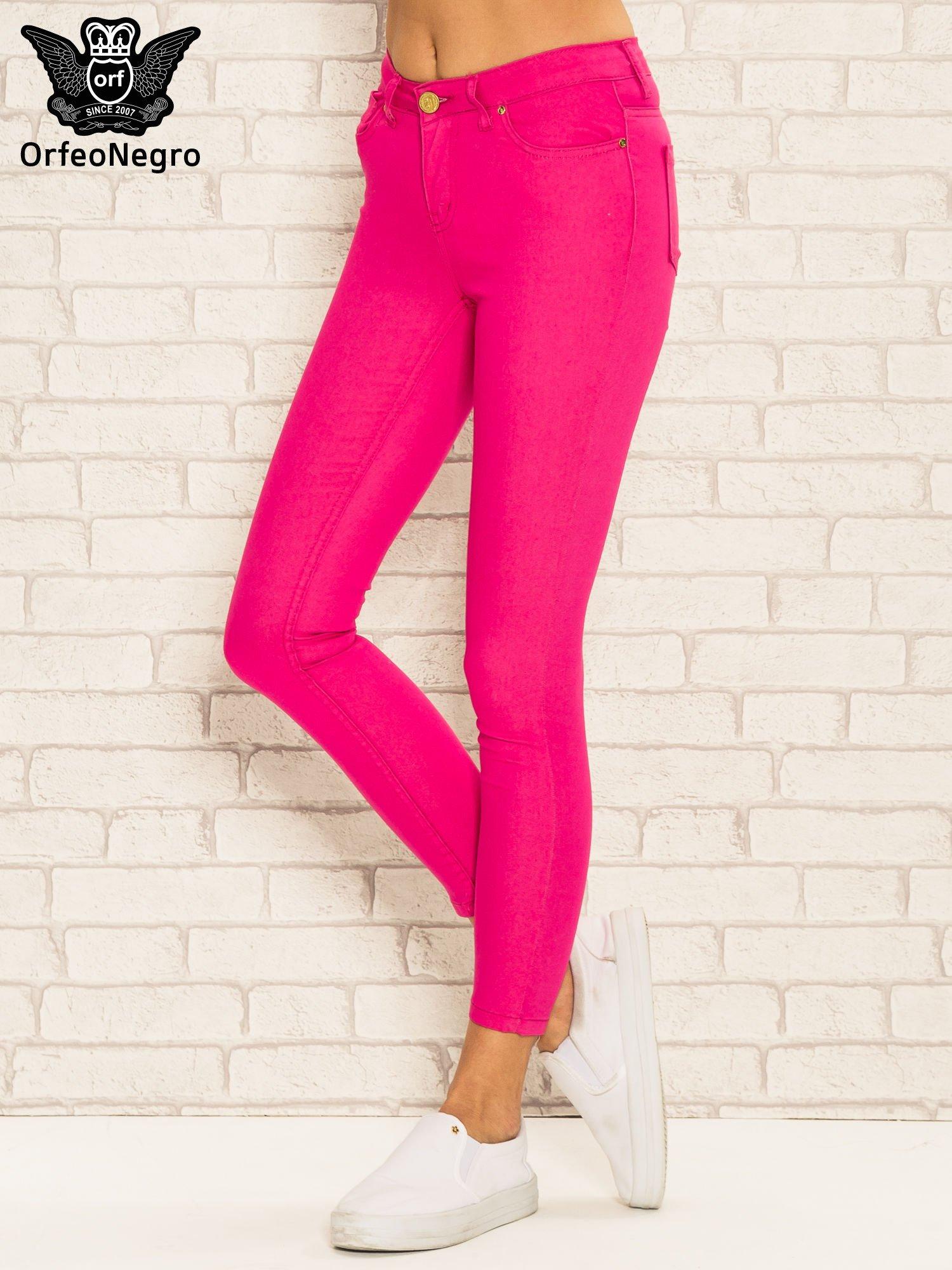 Różowe spodnie rurki skinny z kieszeniami                                  zdj.                                  1