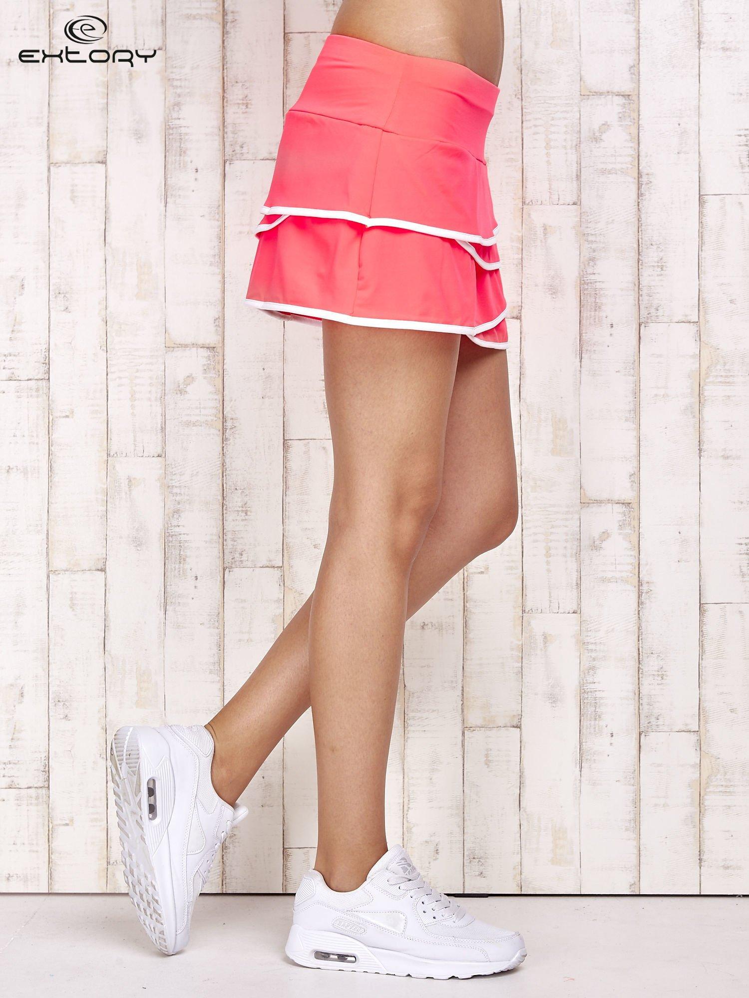 Różowo-białe spodenki spódniczka tenisowa z falbanką                                  zdj.                                  3