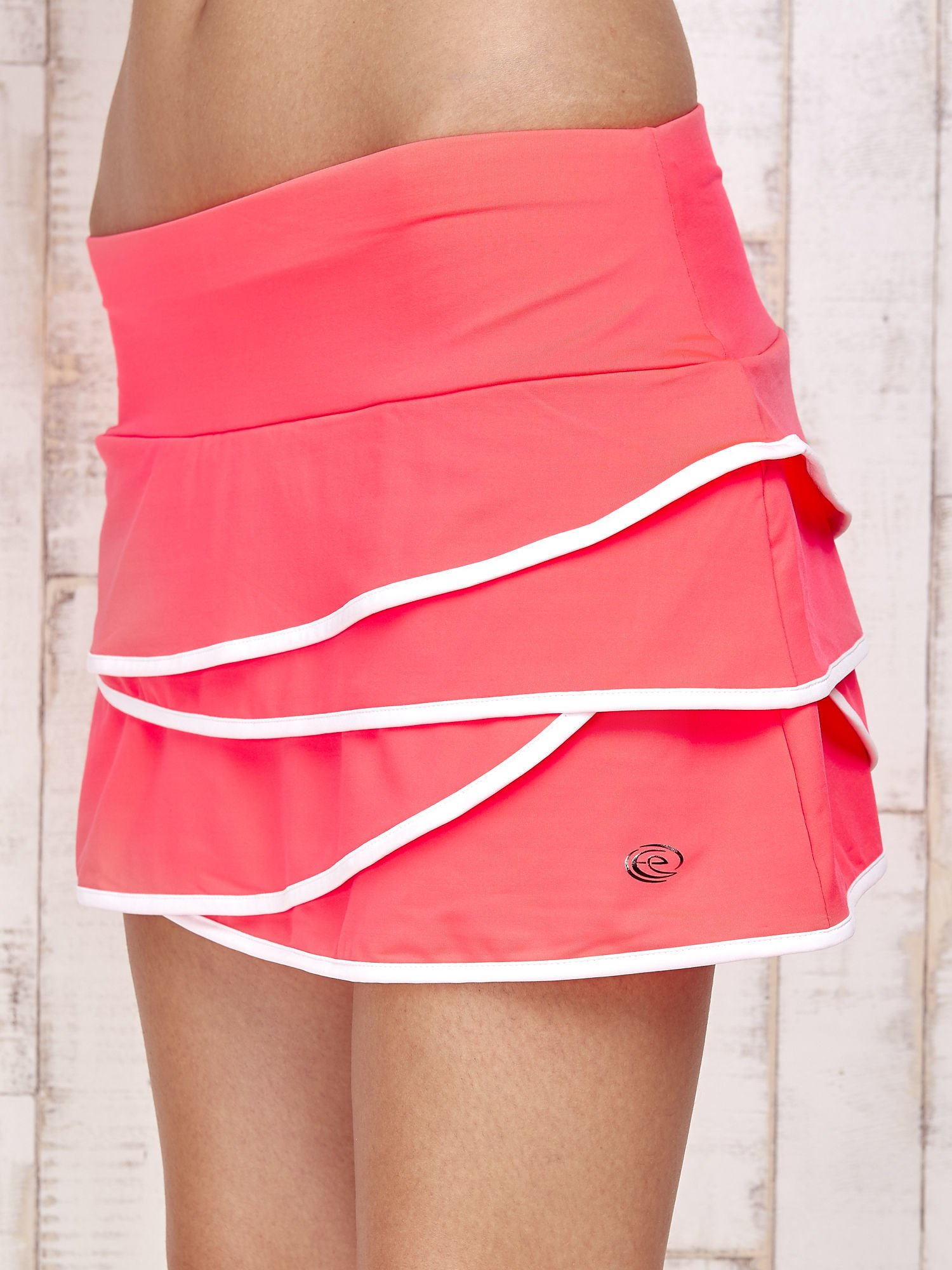 Różowo-białe spodenki spódniczka tenisowa z falbanką                                  zdj.                                  7