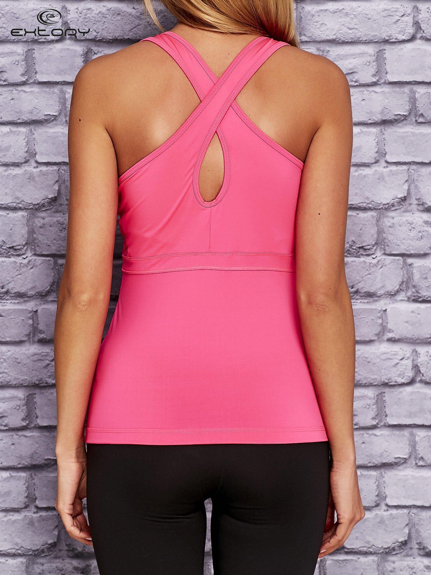 Różowo-biały top sportowy z krzyżowanymi ramiączkami na plecach                                  zdj.                                  2