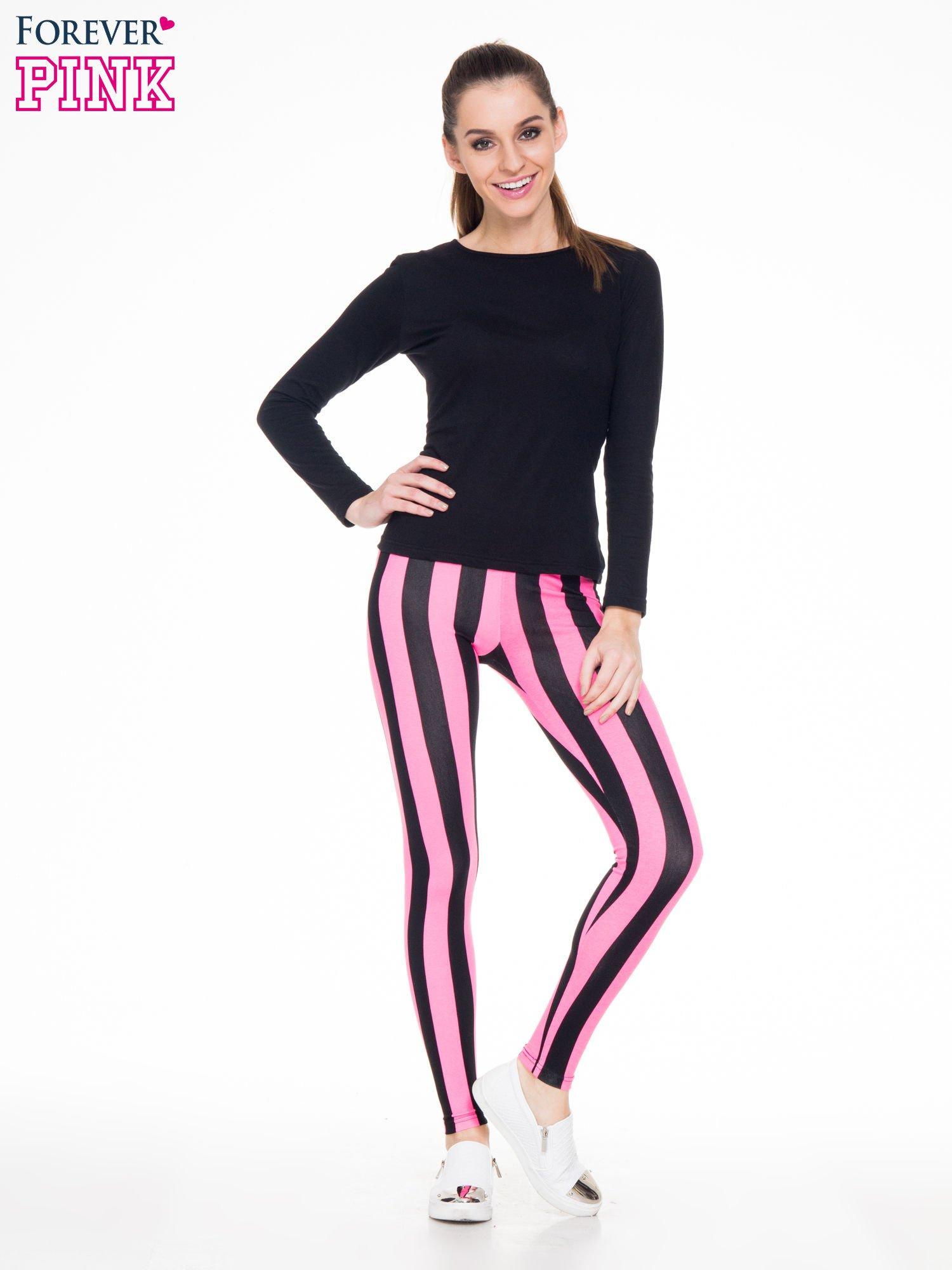 Różowo-czarne wyszczuplające legginsy w pionowe paski                                  zdj.                                  4