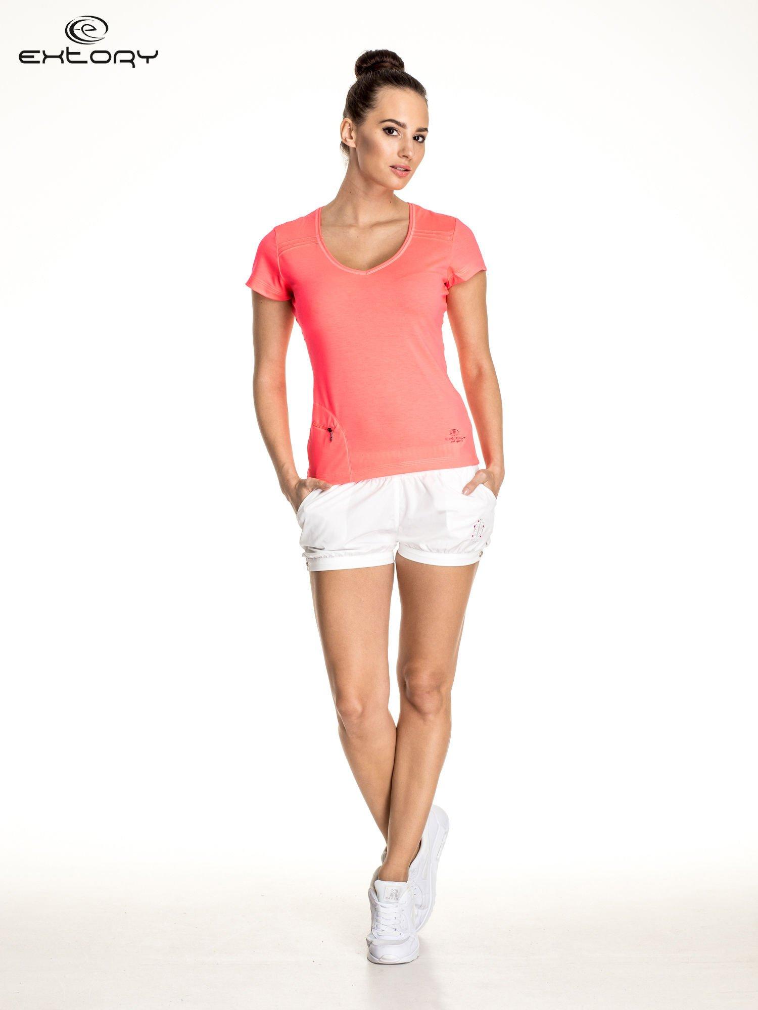 Różowy damski t-shirt sportowy z kieszonką                                  zdj.                                  2