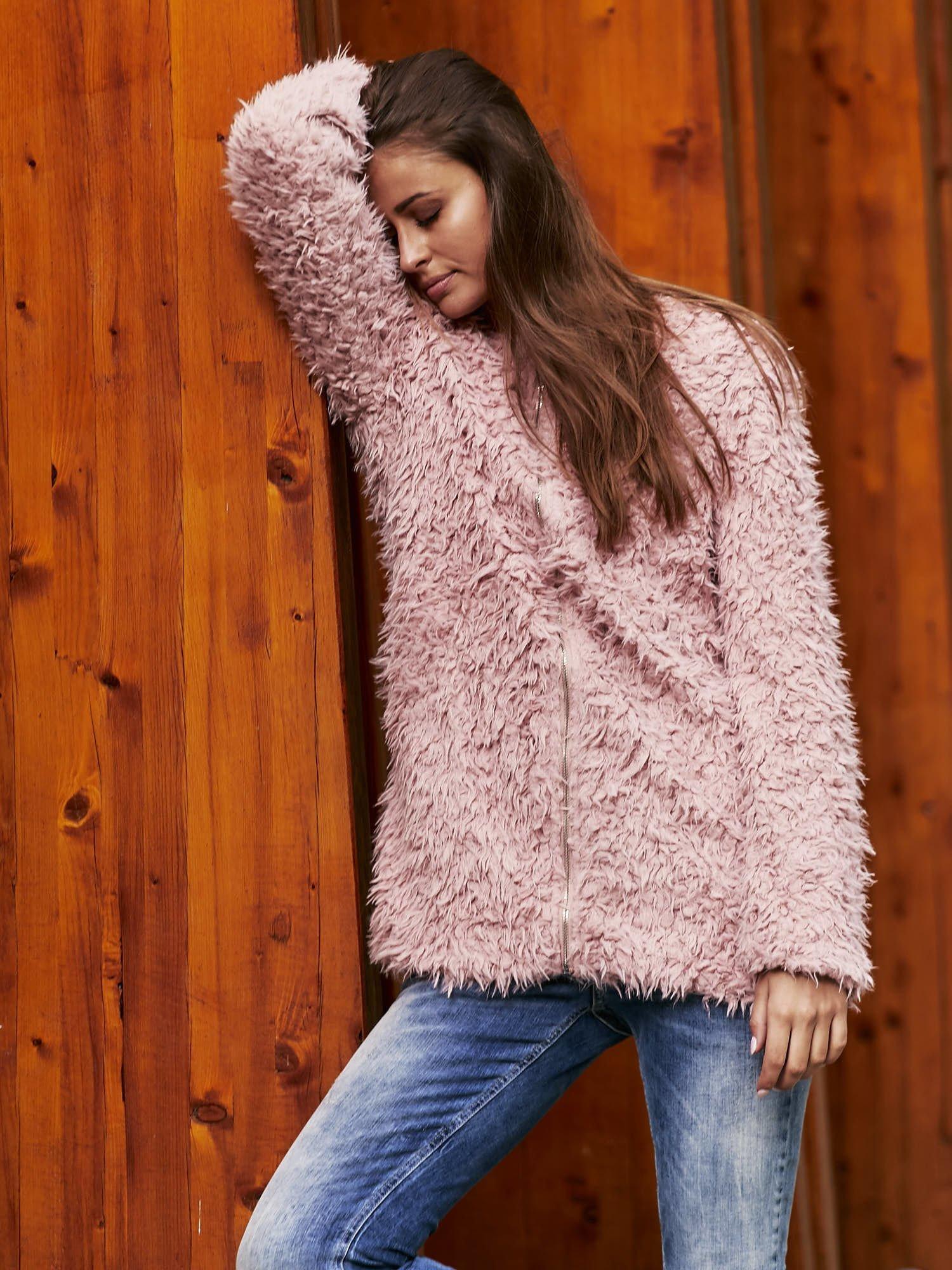 Różowy futrzany sweter kurtka na suwak                                  zdj.                                  1