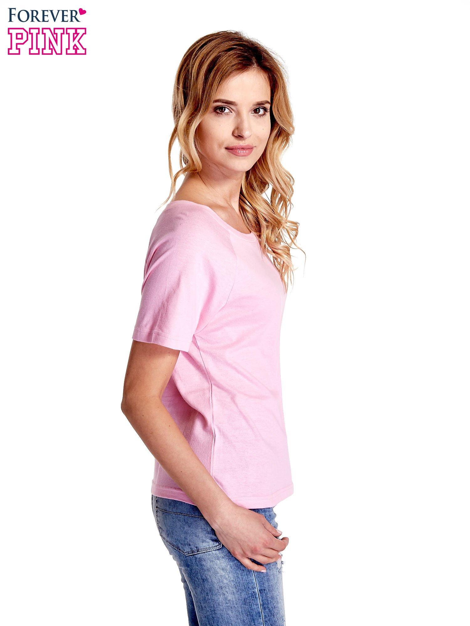 Różowy gładki t-shirt                                  zdj.                                  3