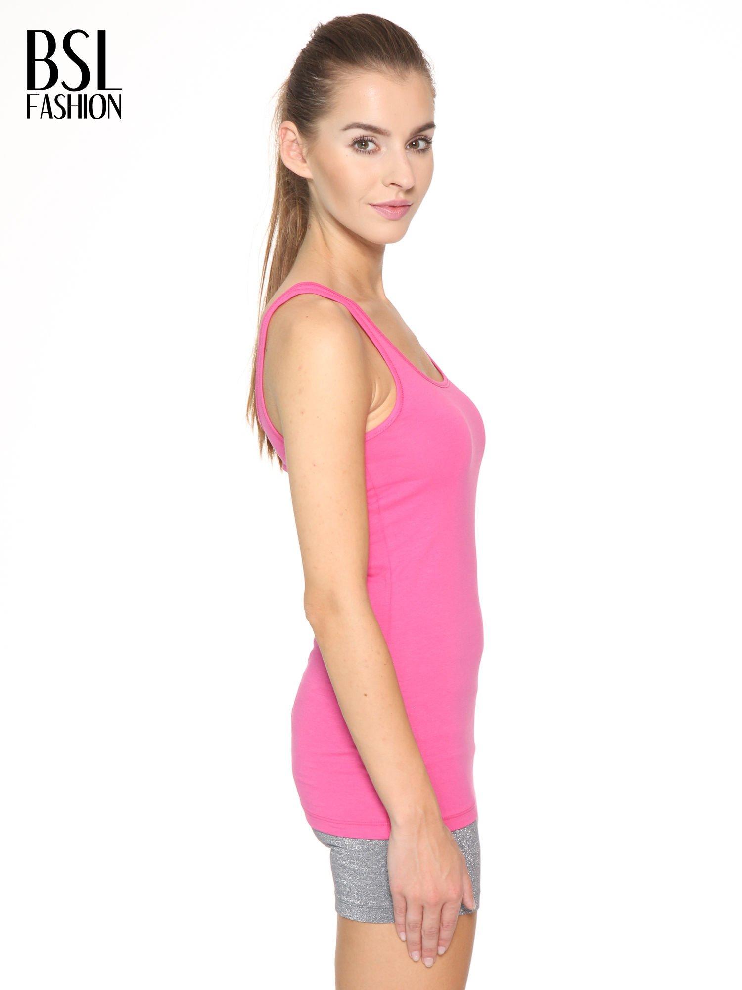 Różowy gładki top na szerokich ramiączkach                                  zdj.                                  3