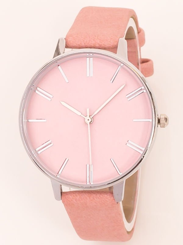Inne rodzaje Różowy pastelowy klasyczny zegarek damski na wąskim pasku JN56