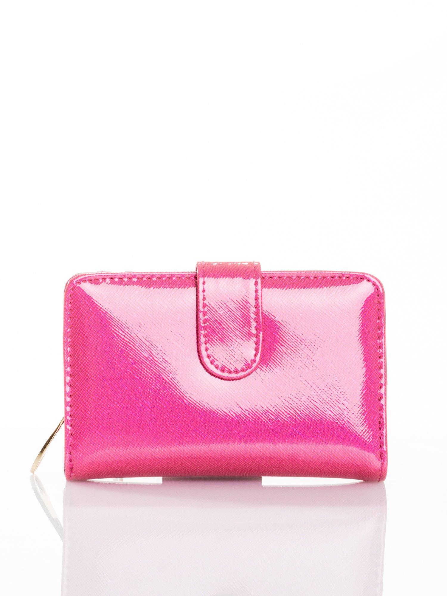 Różowy portfel efekt skóry saffiano                                  zdj.                                  1