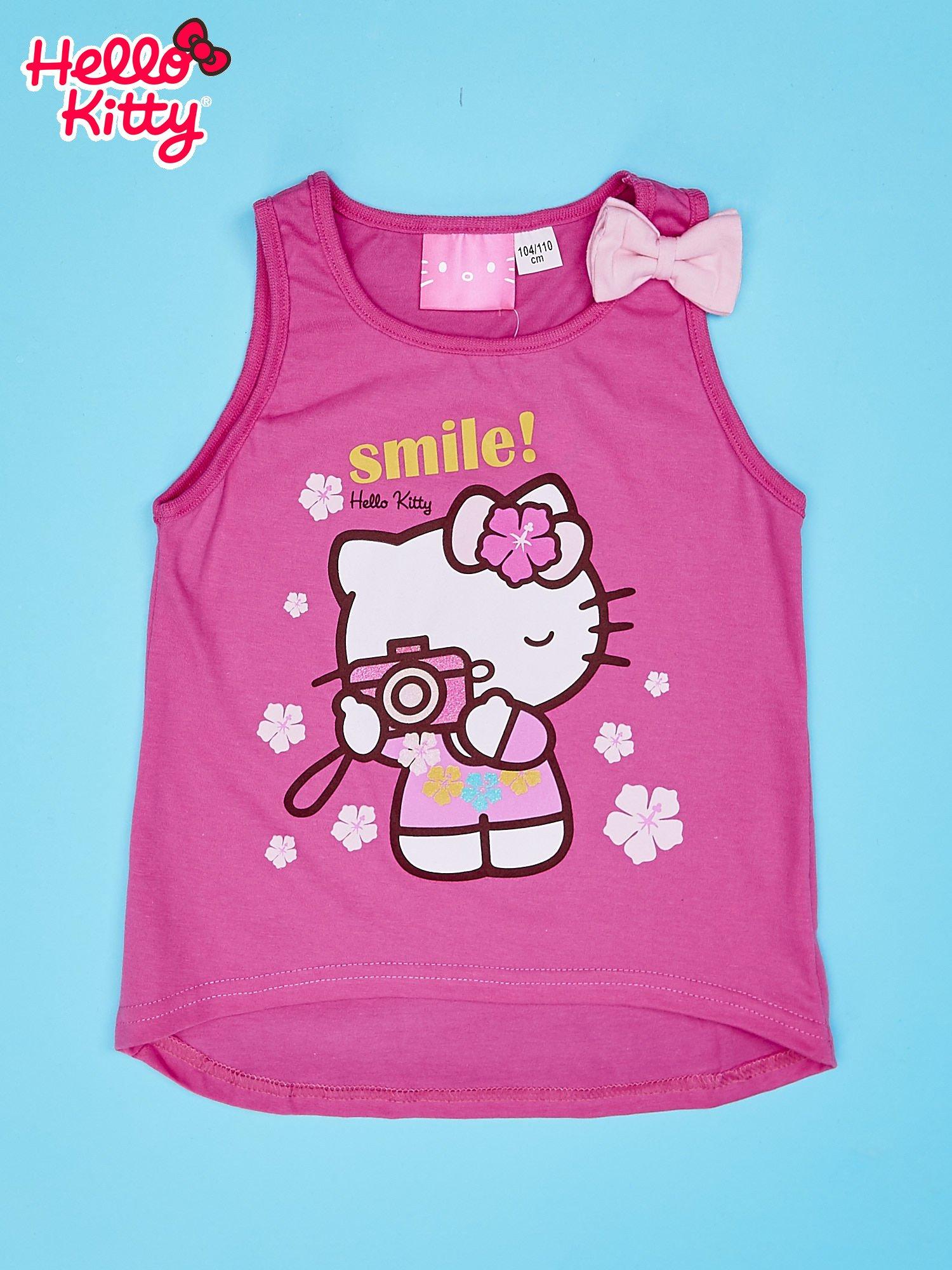 Różowy t-shirt dla dziewczynki bez rękawów HELLO KITTY                                  zdj.                                  1