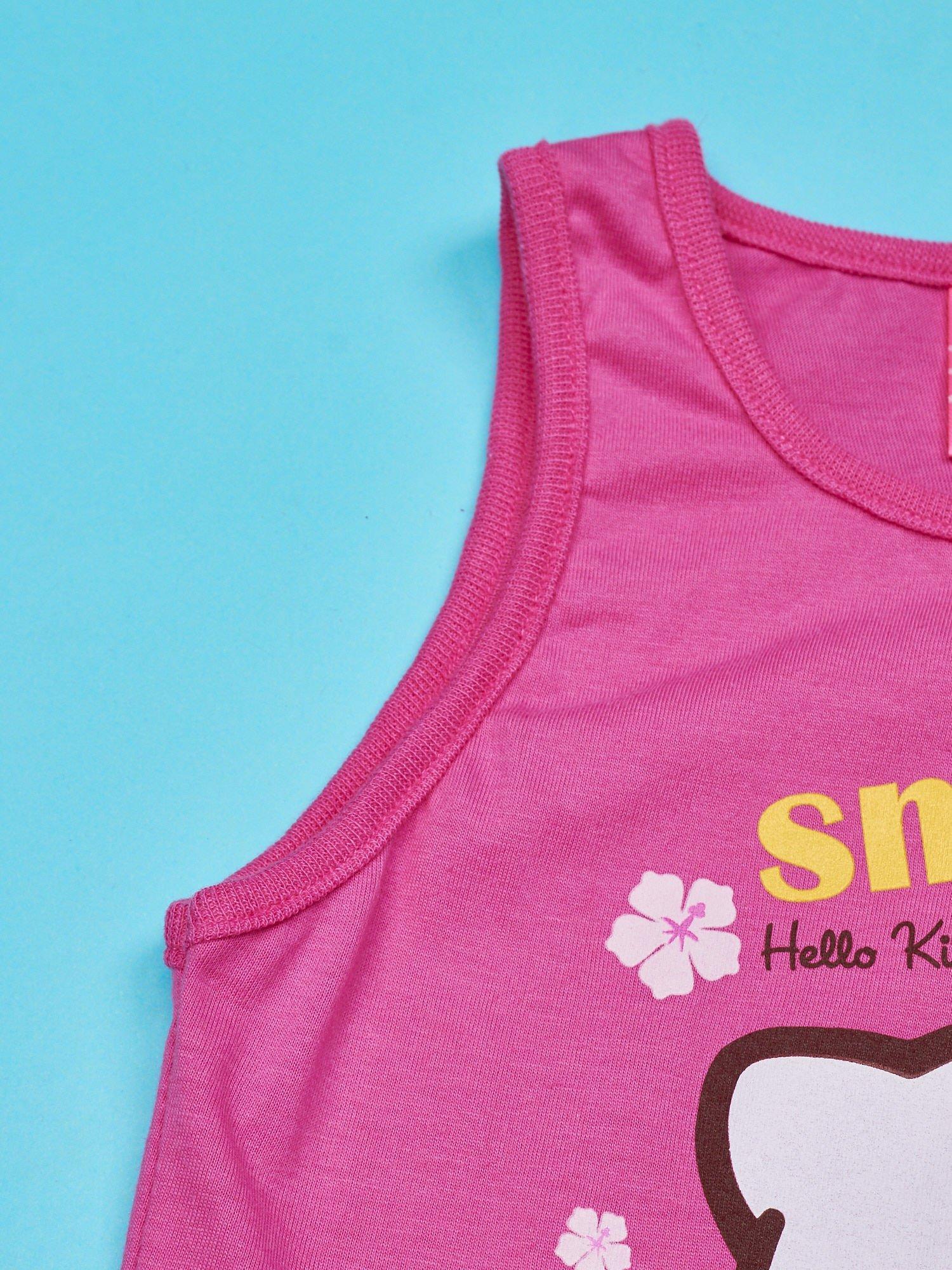 Różowy t-shirt dla dziewczynki bez rękawów HELLO KITTY                                  zdj.                                  3