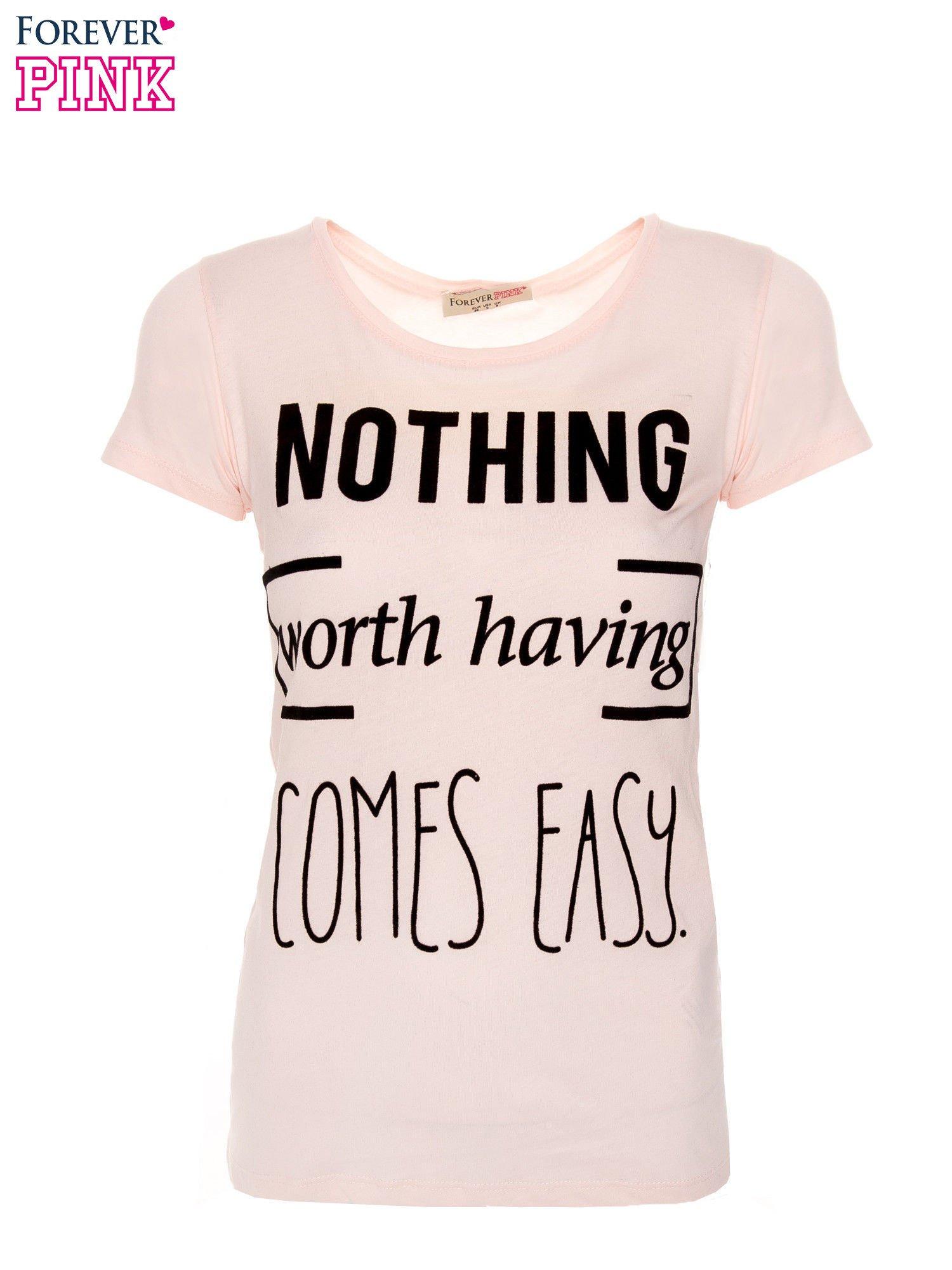 Różowy t-shirt z nadrukiem                                  zdj.                                  1
