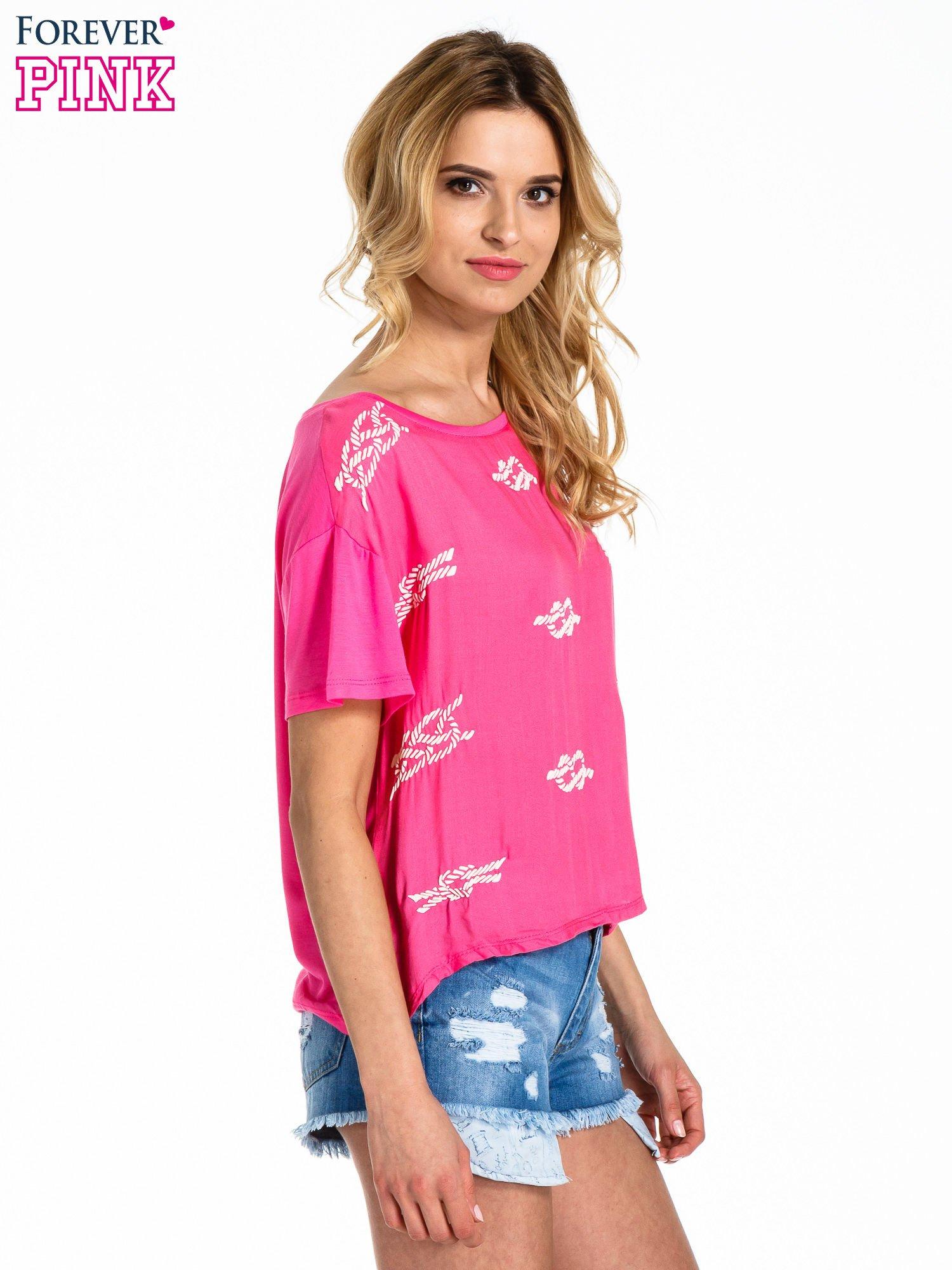 Różowy t-shirt z nadrukiem nieskończoności                                  zdj.                                  3