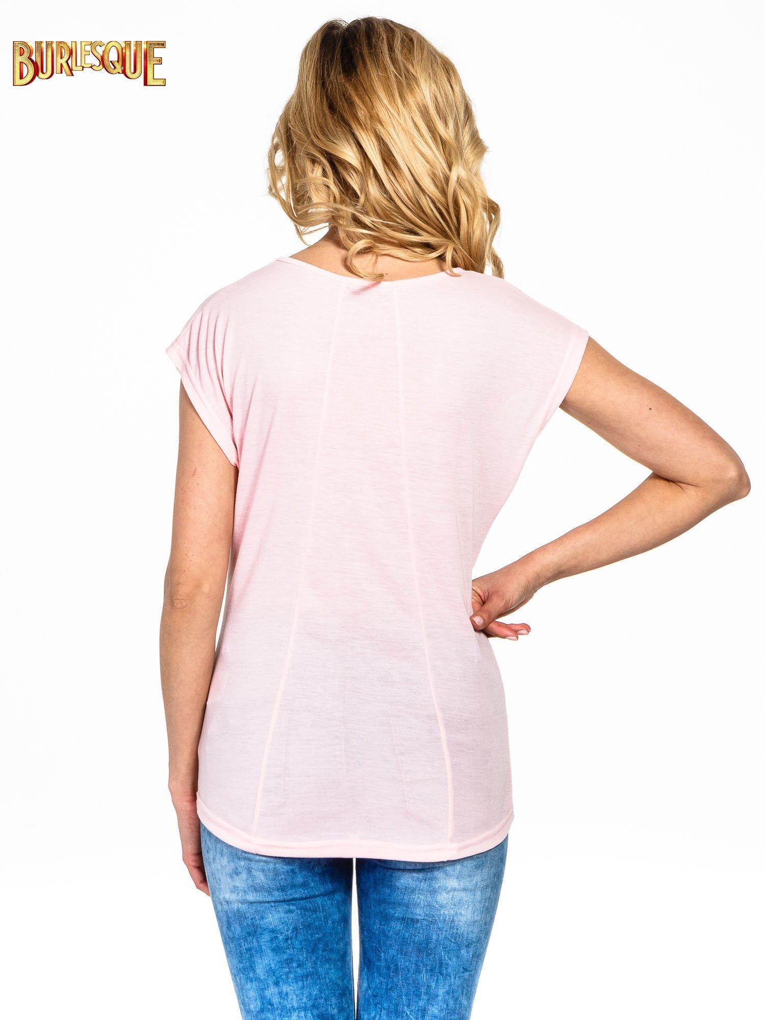 Różowy t-shirt z napisem LOOK GOOD FOREVER                                  zdj.                                  4