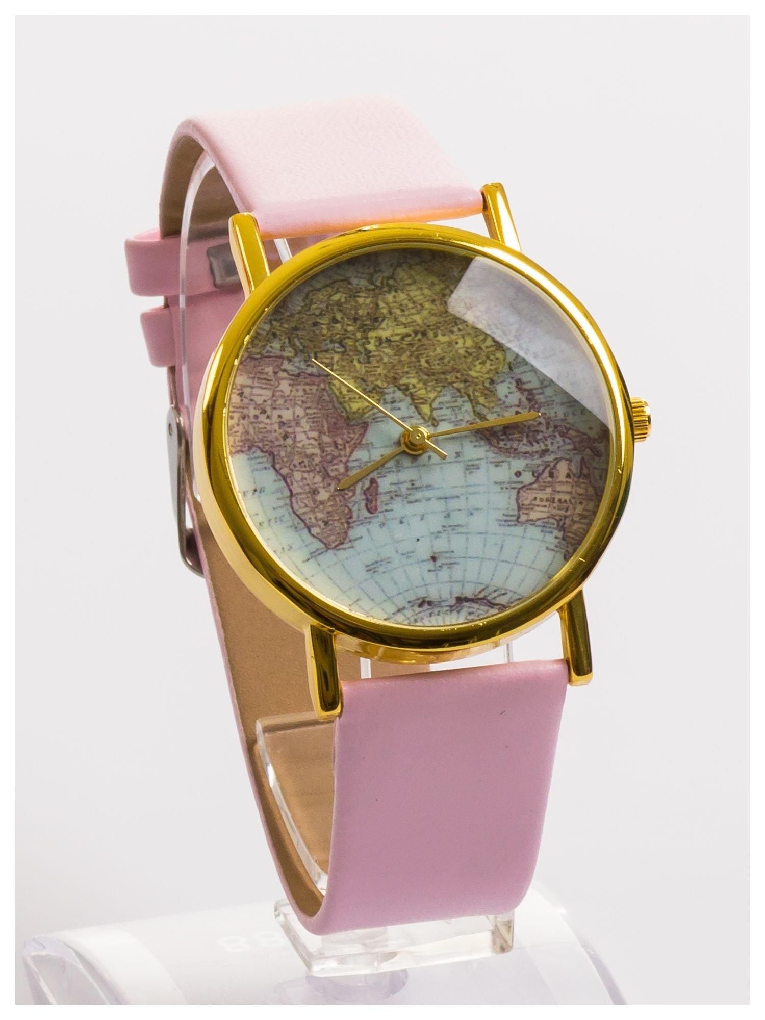 Różowy zegarek damski na skórzanym pasku                                  zdj.                                  2