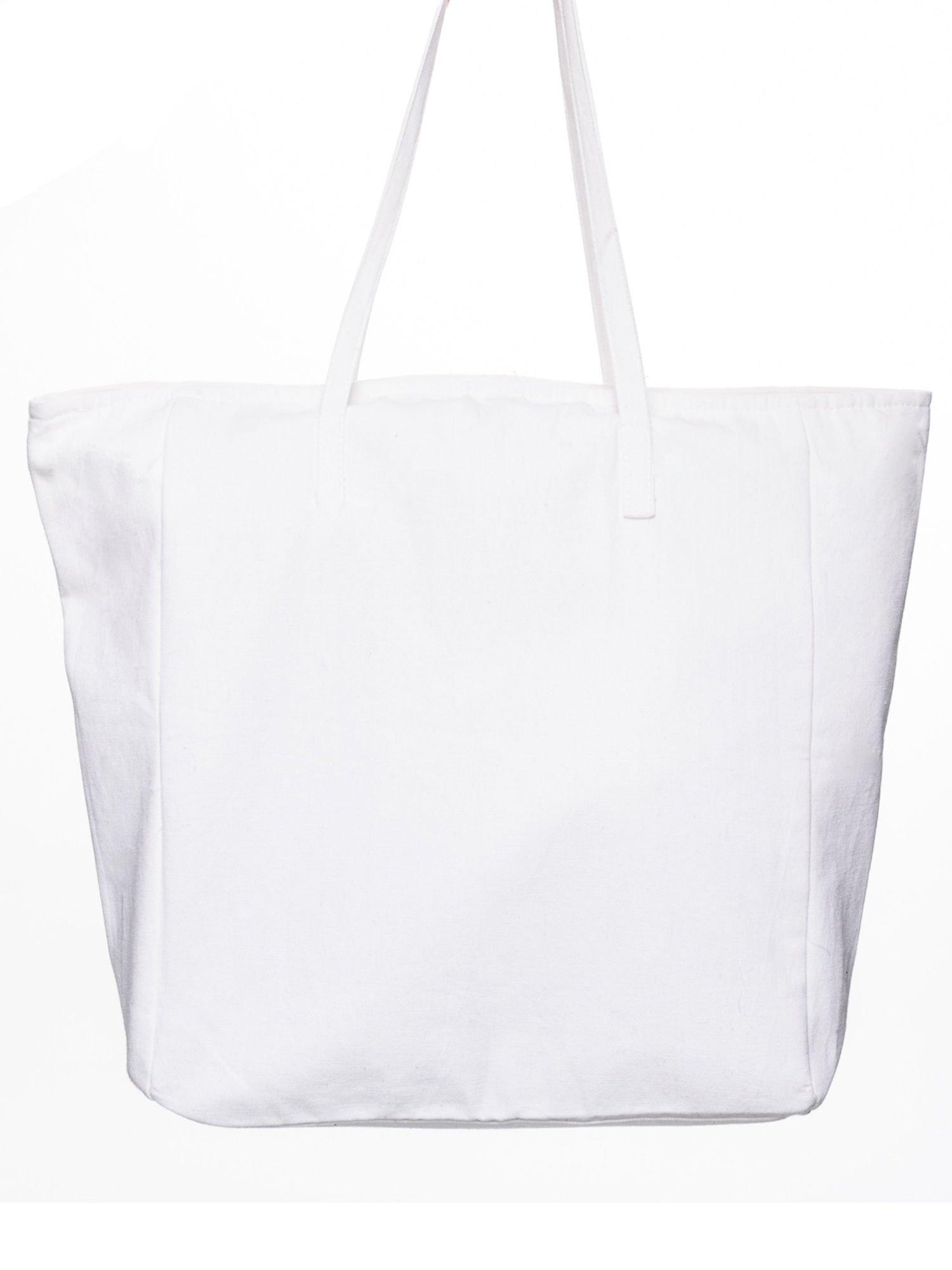 STRADIVARIUS Białe ekotorba typu shopper bag z napisem LOVE YOUR LIFE                                  zdj.                                  4