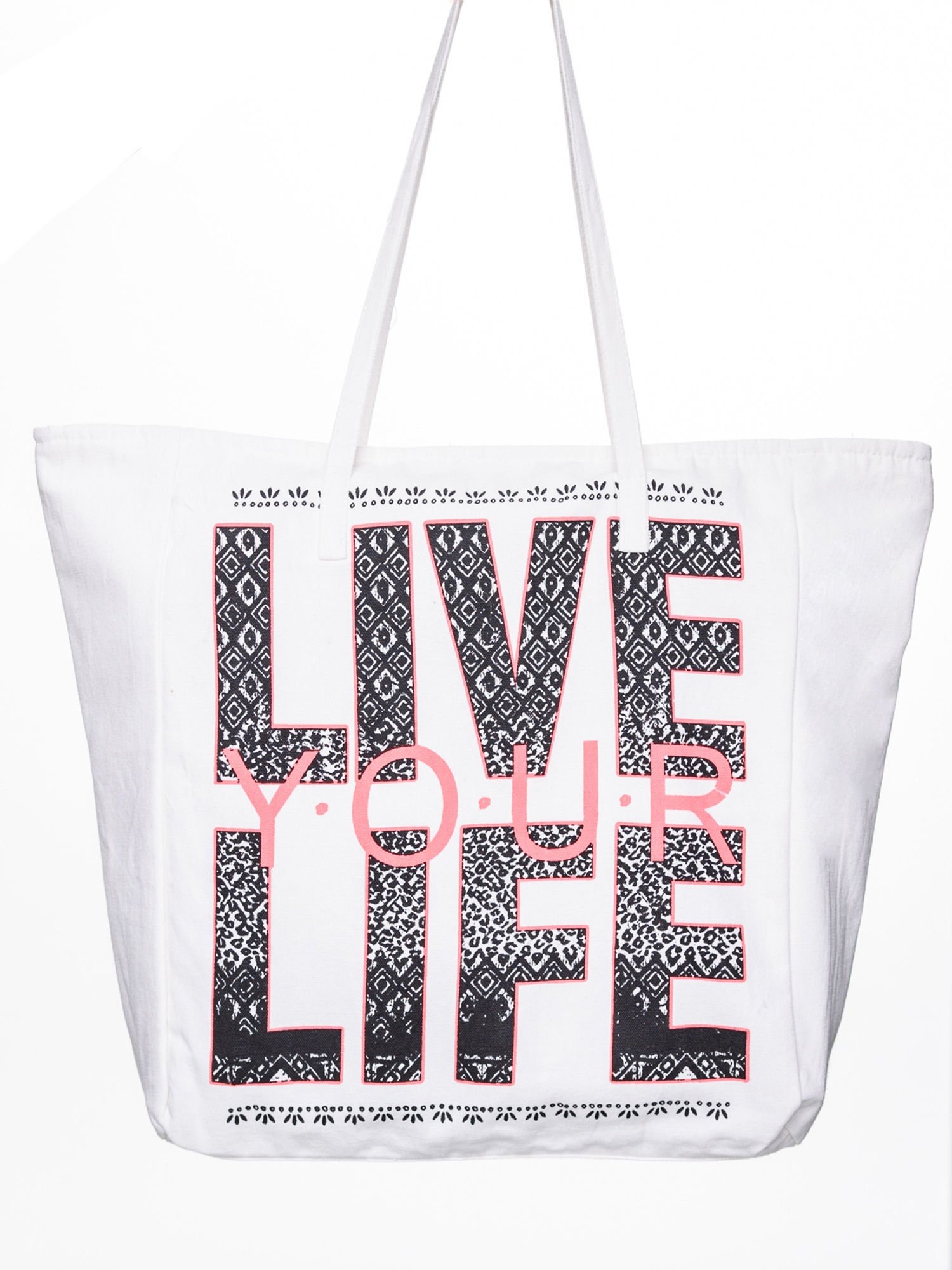 STRADIVARIUS Białe ekotorba typu shopper bag z napisem LOVE YOUR LIFE                                  zdj.                                  1