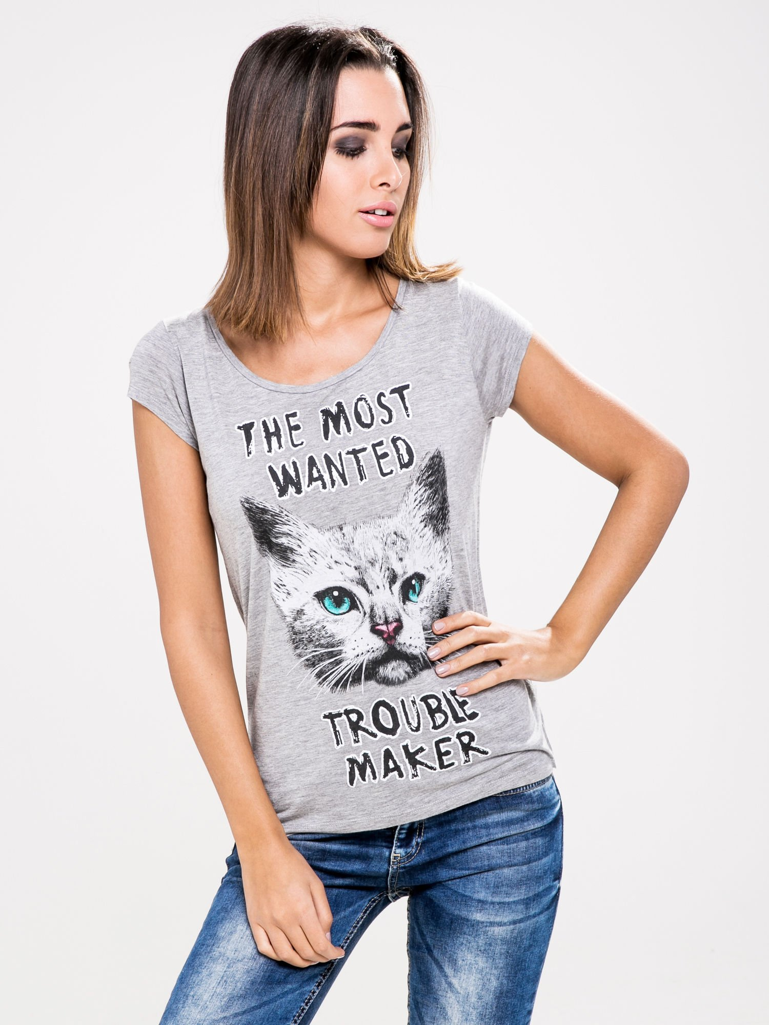 STRADIVARIUS Szary t-shirt z nadrukiem kotka                                  zdj.                                  1