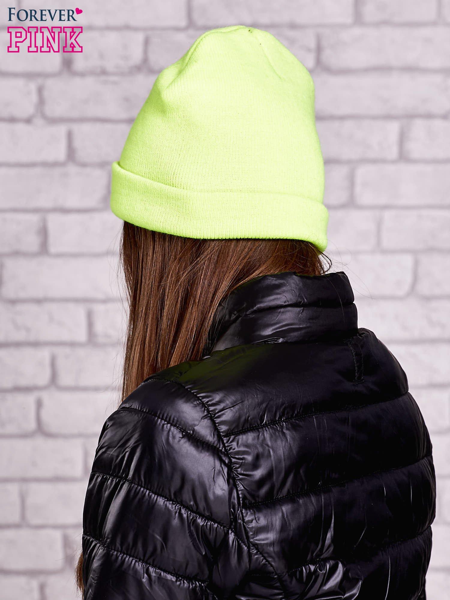 Seledynowa neonowa czapka beanie                                  zdj.                                  2
