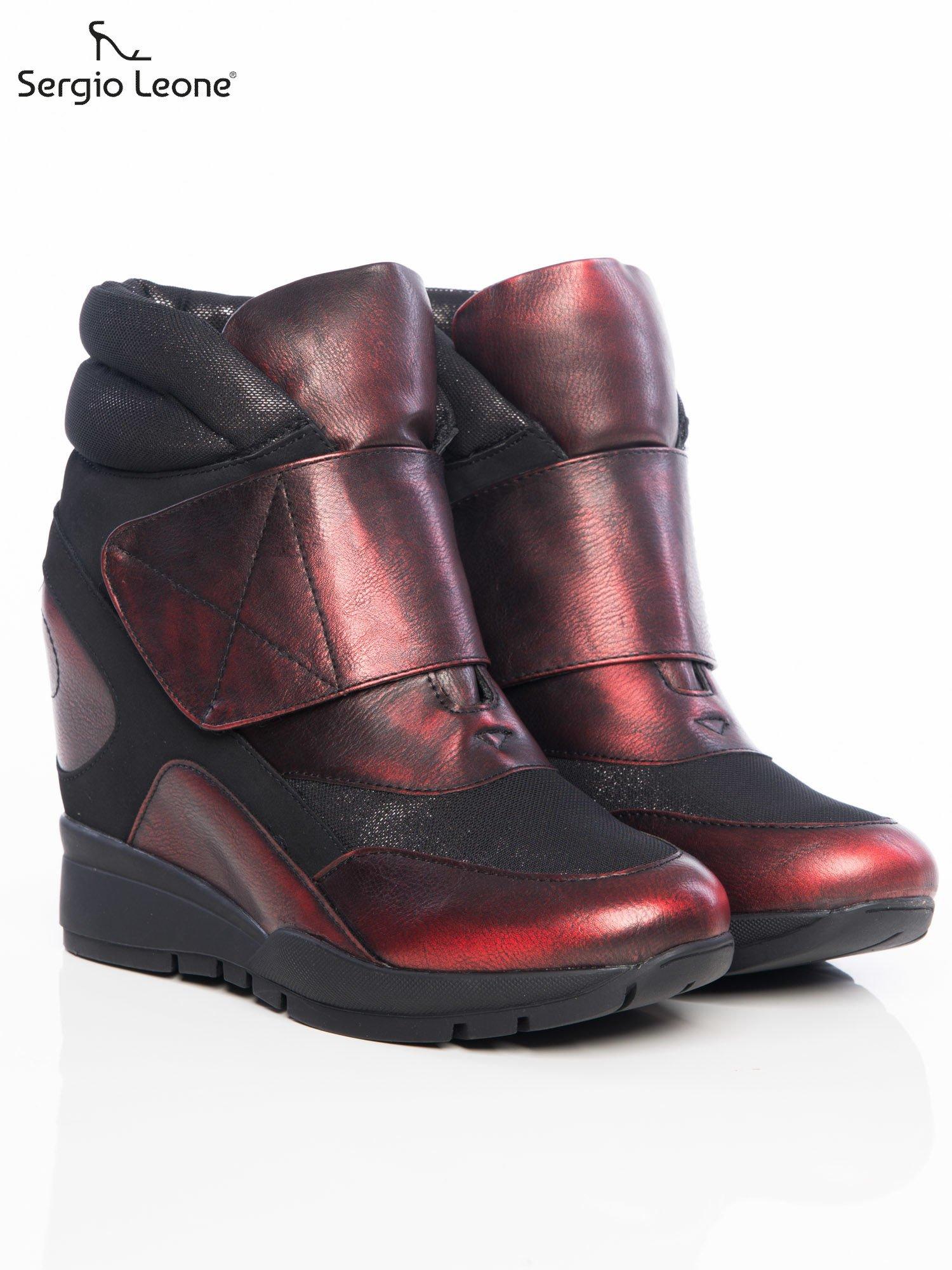 Sergio Leone czarno czerwone przecierane, metaliczne sneakersy z wysoką pikowaną cholewką