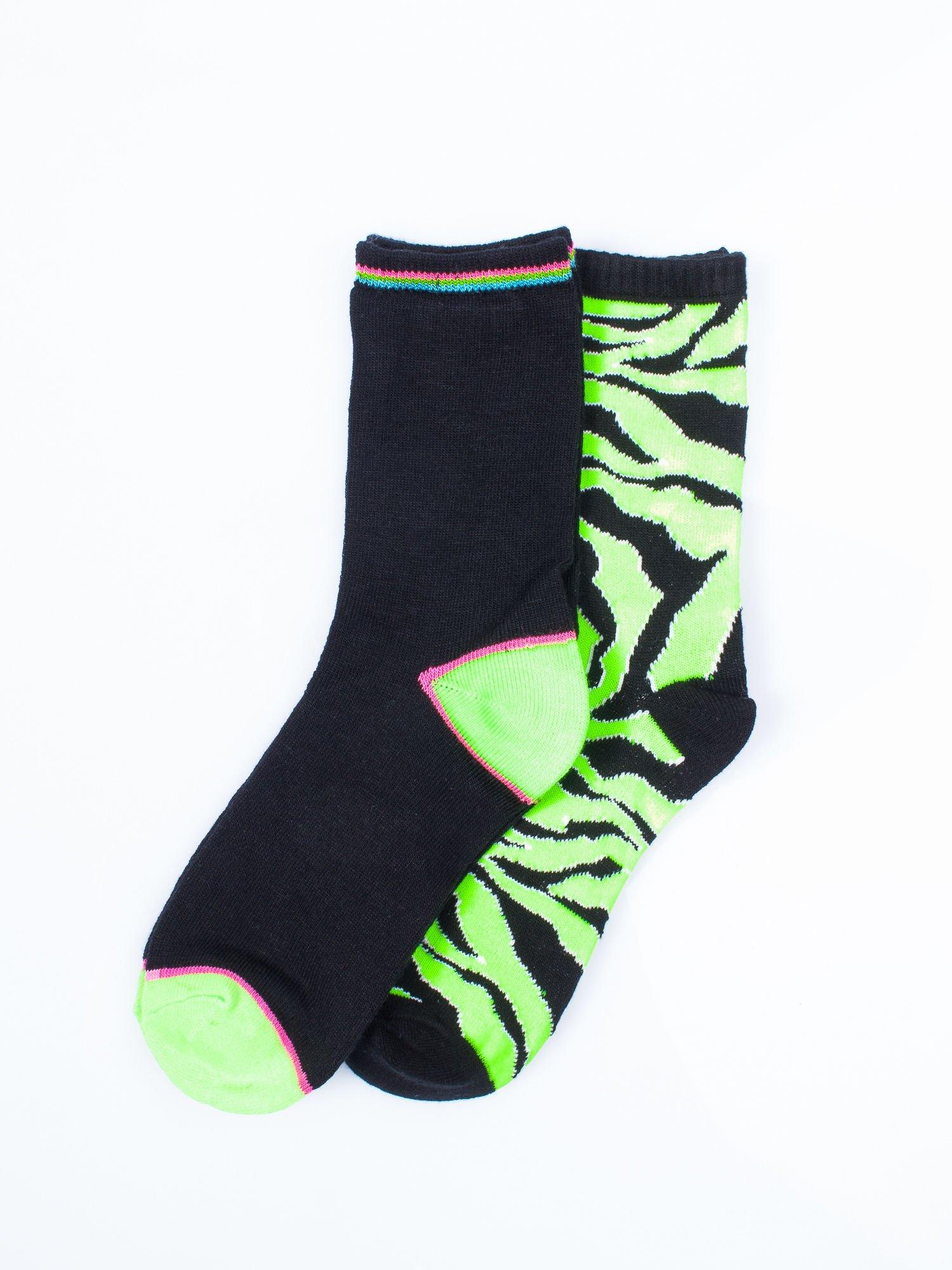 Skarpetki damskie zielona zebra-czarny zestaw 2 pary                                  zdj.                                  1
