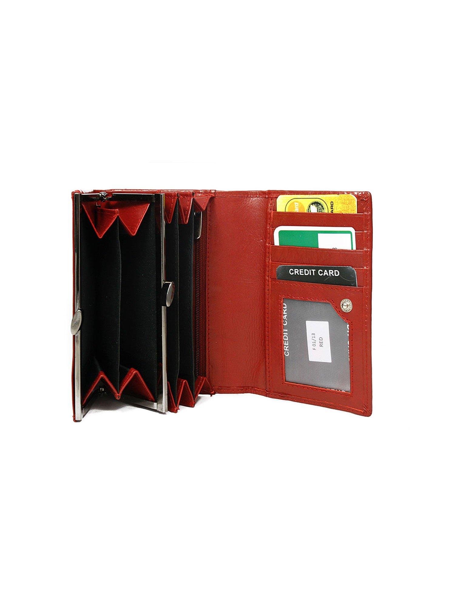 a1e32928d9e50 Skórzany czerwony portfel damski poziomy - Akcesoria portfele ...