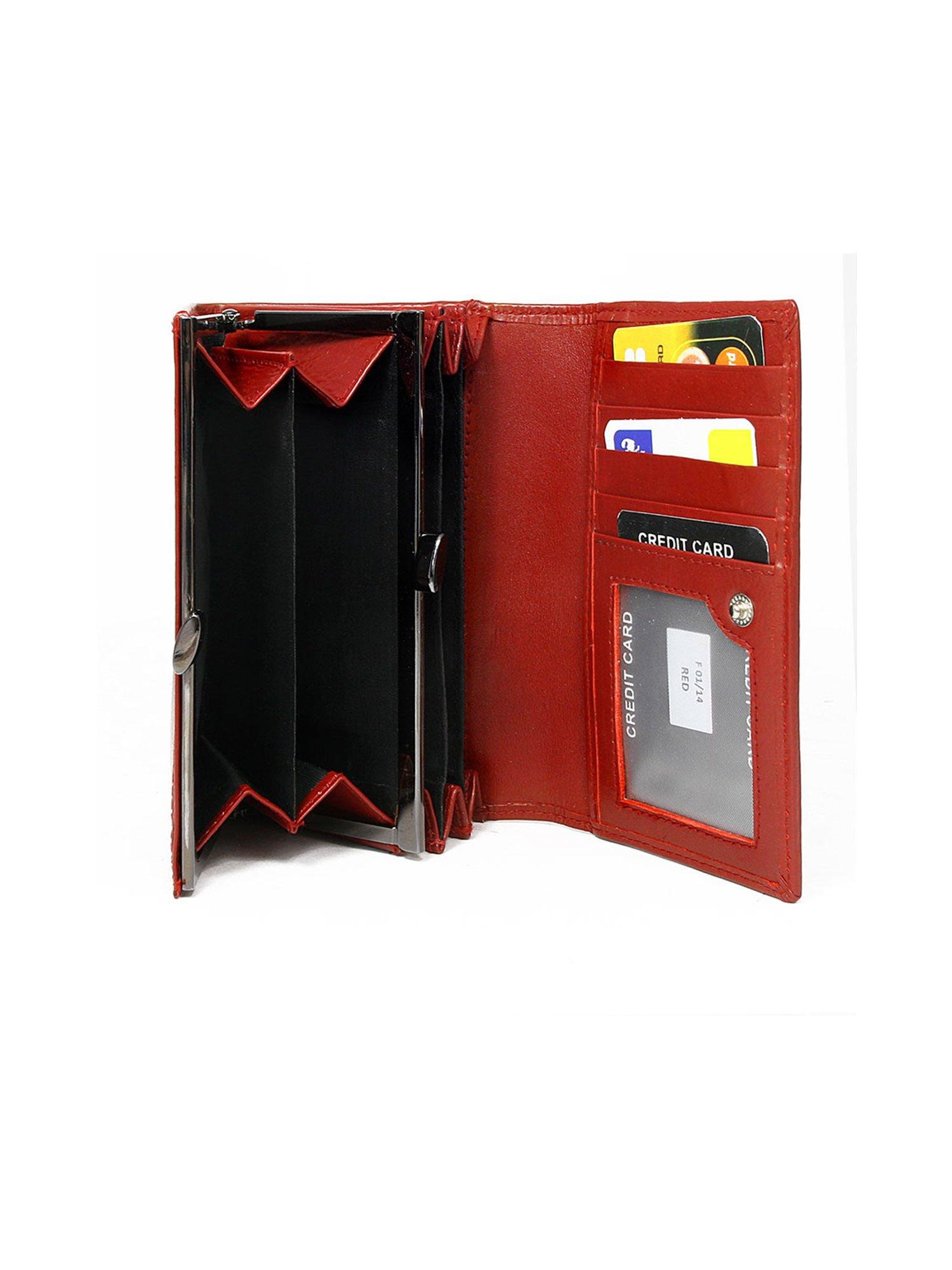 a5d7eb9febfce Skórzany czerwony portfel poziomy - Akcesoria portfele - sklep eButik.pl