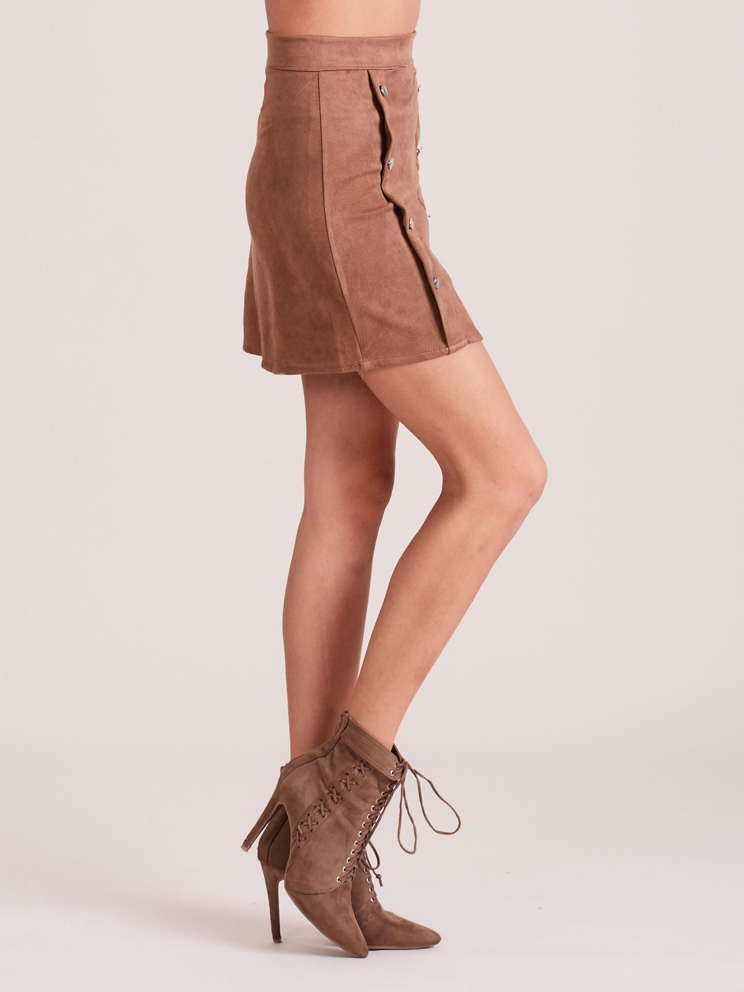 Spódnica trapezowa z imitacji zamszu brązowa