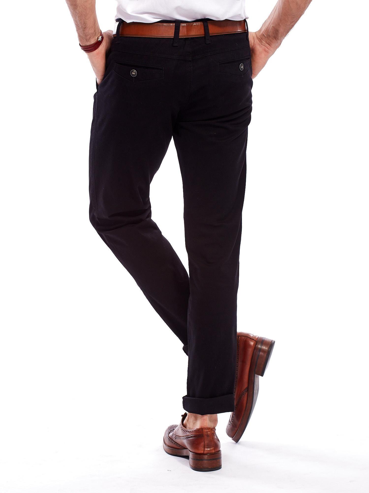 d508cbf8994cb Spodnie męskie czarne o prostym kroju - Mężczyźni Spodnie z ...