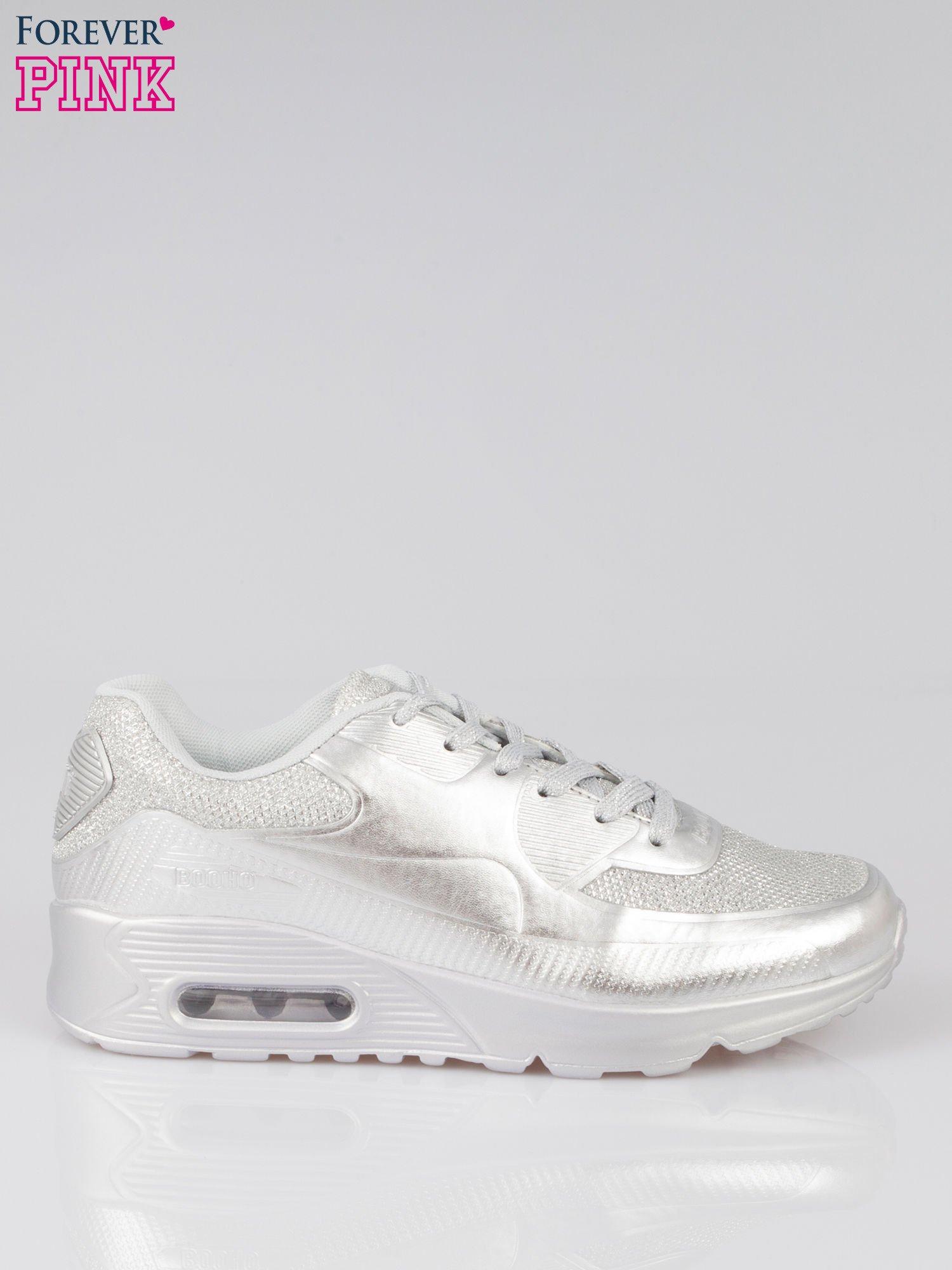 Srebrne buty sportowe faux leather Desire na podeszwie z poduszką powietrzną                                  zdj.                                  1