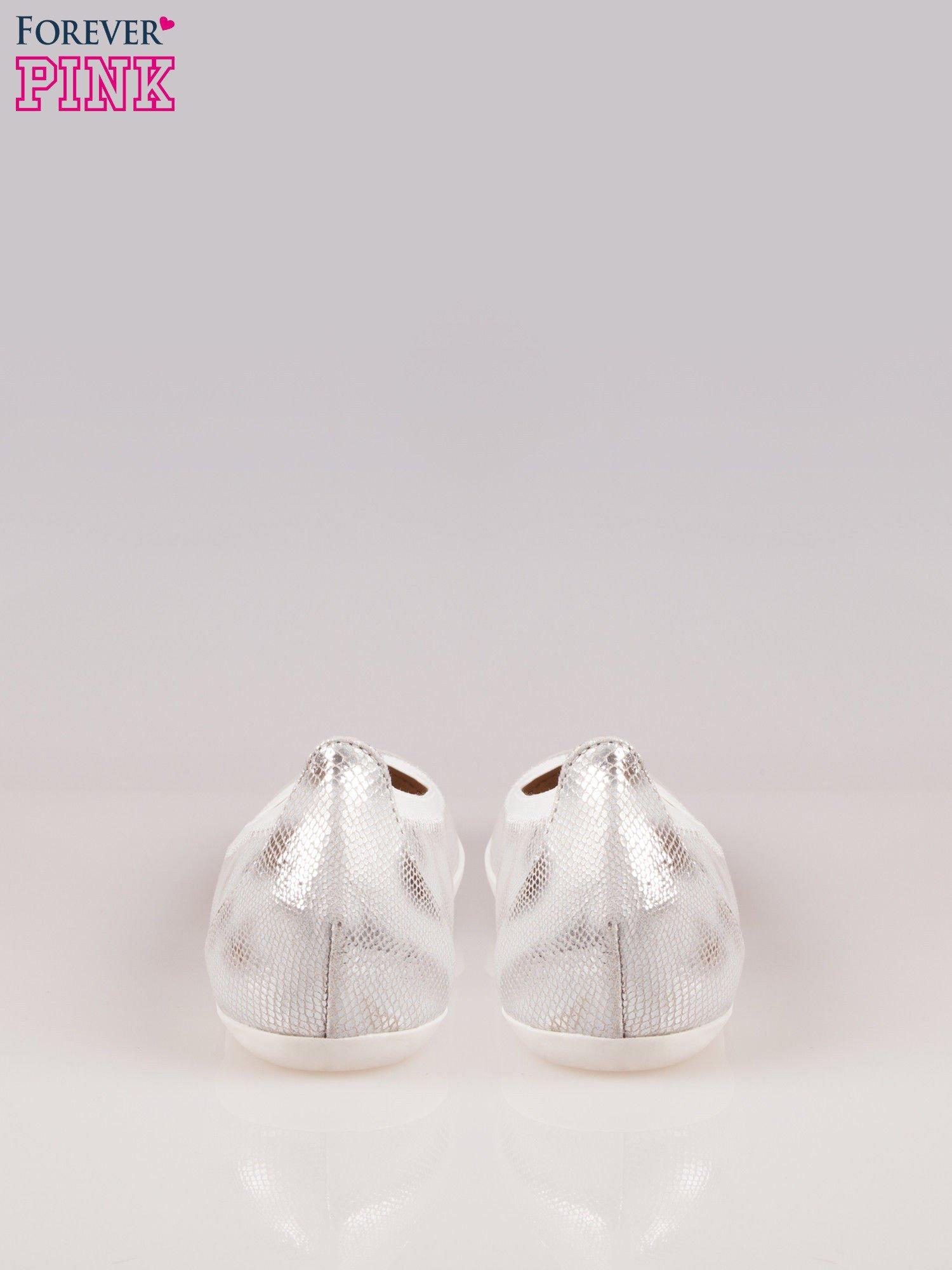 Srebrne metaliczne baleriny Gleamy z efektem skóry jaszczurki                                  zdj.                                  3