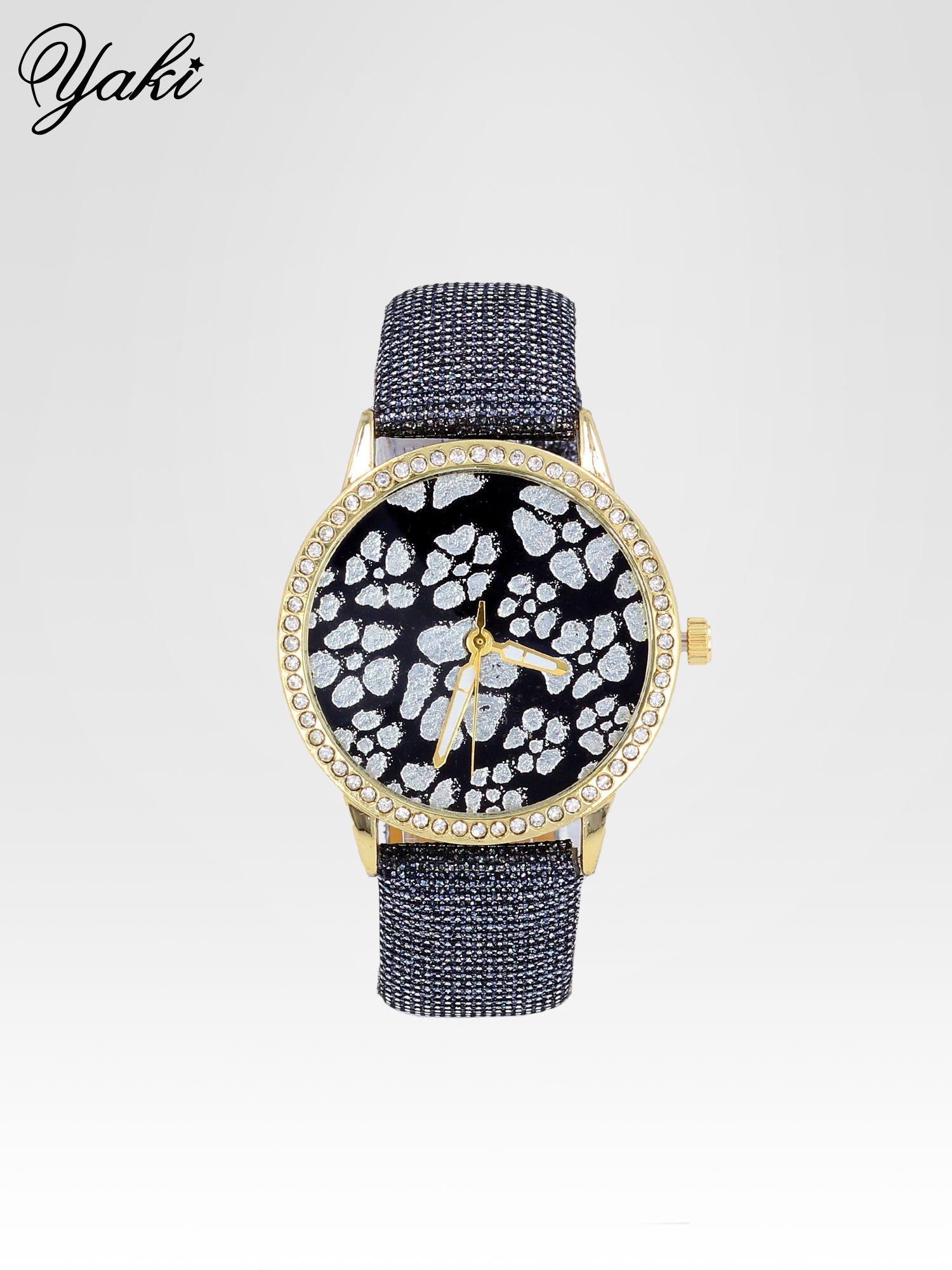Srebrny zegarek damski na błyszczącym paski z cyrkoniami na kopercie                                  zdj.                                  1