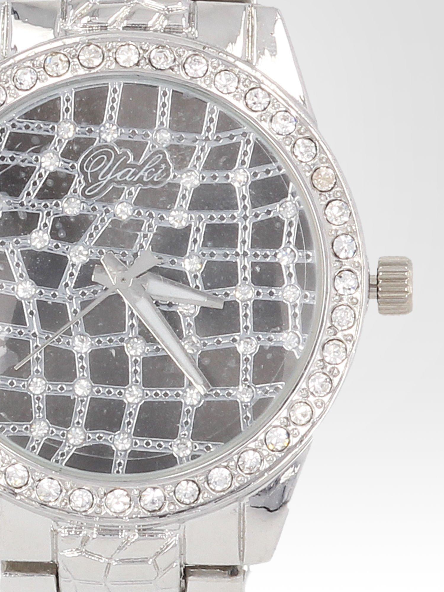 Srebrny zegarek damski na bransolecie z cyrkoniową kopertą                                  zdj.                                  6