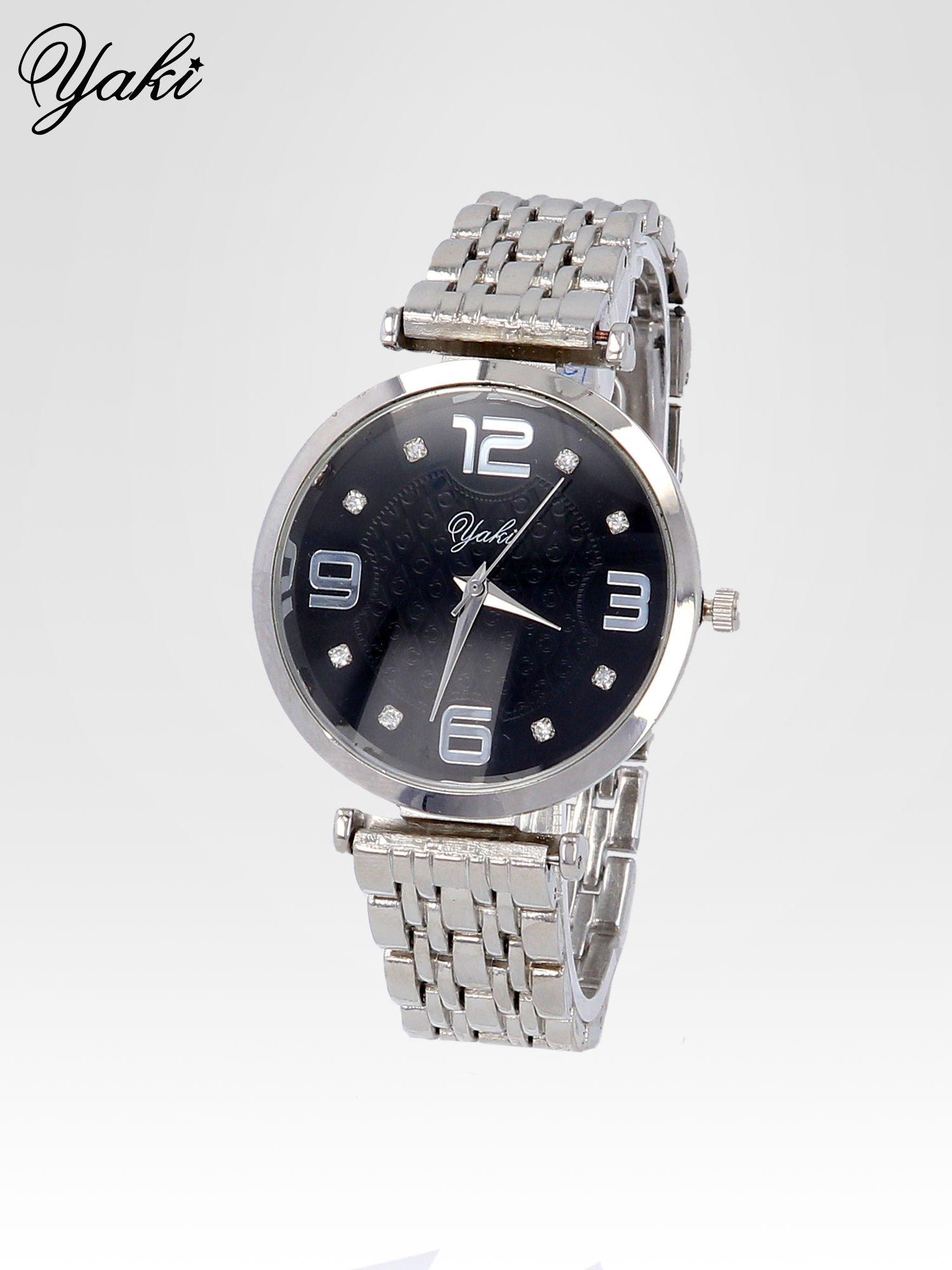 Srebrny zegarek damski na bransolecie z dużą czarną tarczą                                  zdj.                                  2