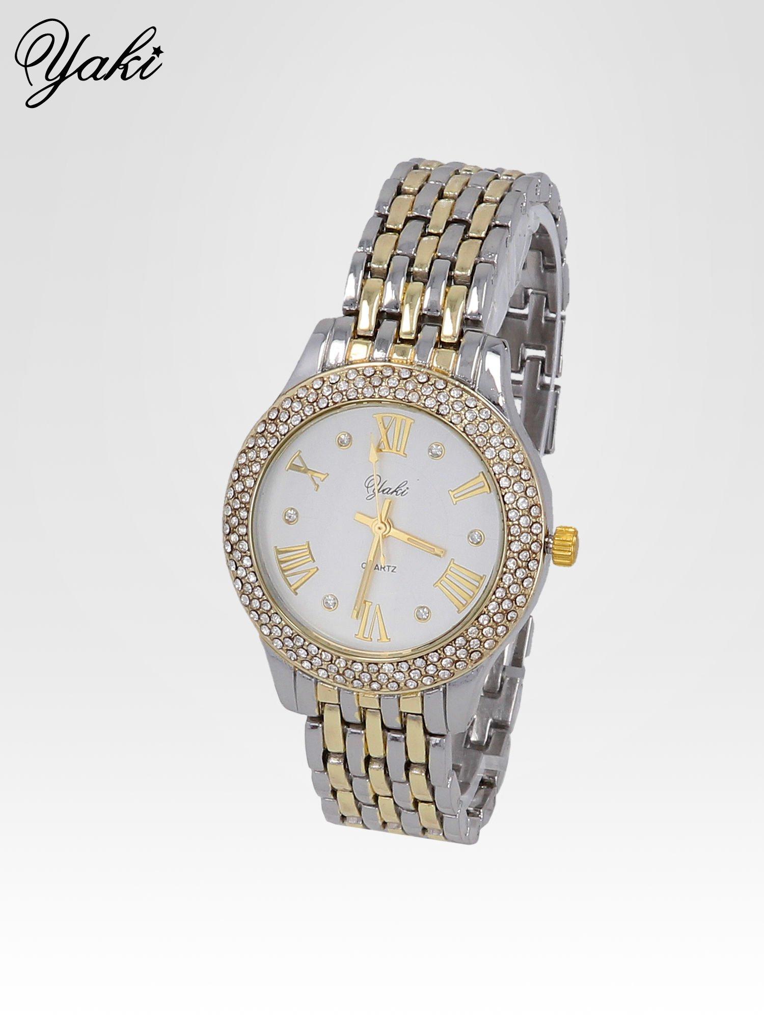 Srebrny zegarek na bransolecie z cyrkoniami wokół koperty                                  zdj.                                  2