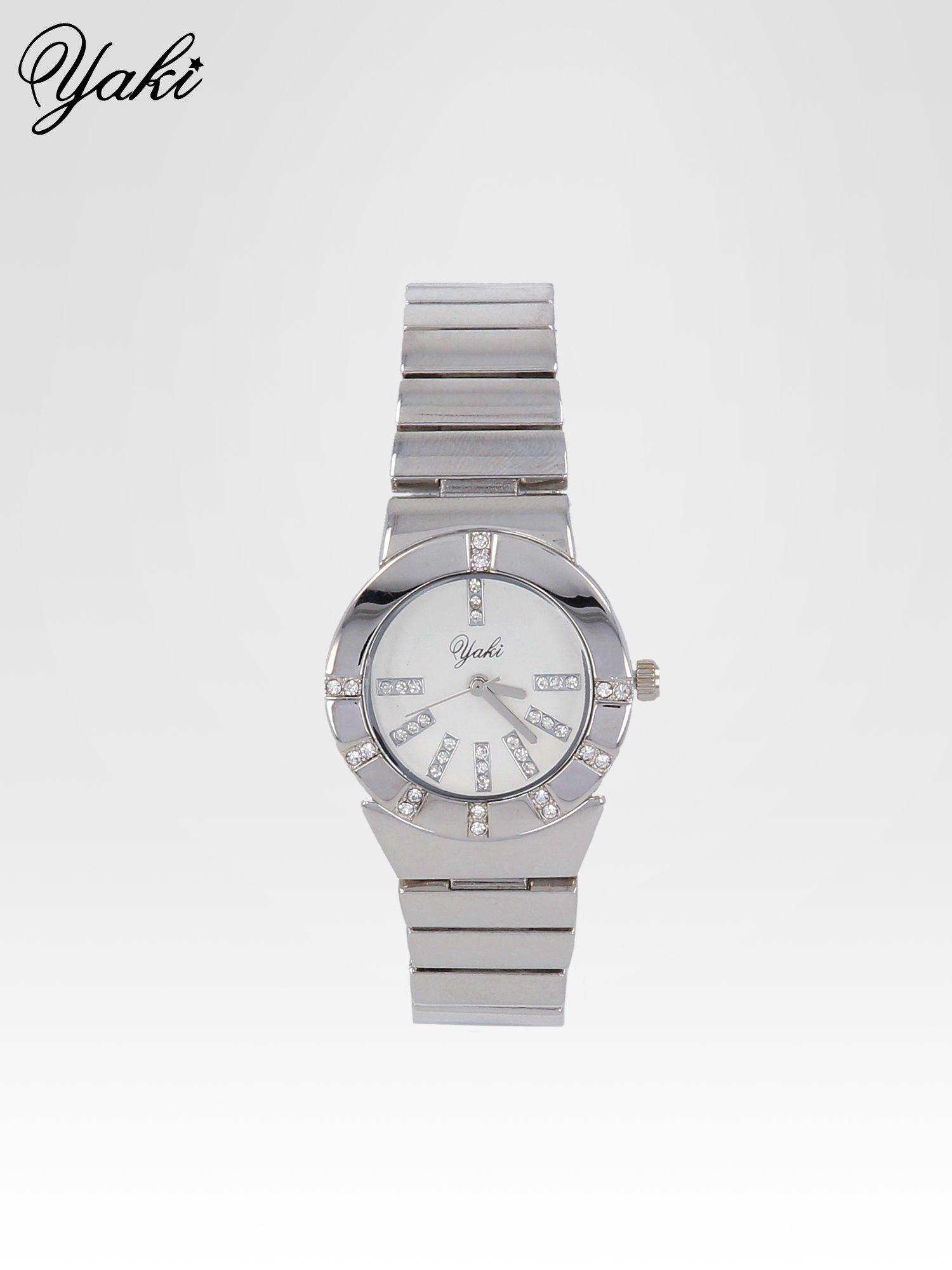 Srebrny zegarek na bransolecie z okrągłą tarczą z cyrkoniami                                  zdj.                                  1
