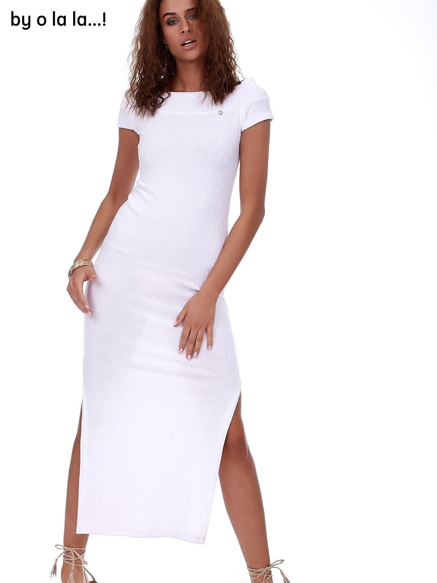687d313b3c Sukienka biała maxi w prążek BY O LA LA - Sukienka dzianinowa ...