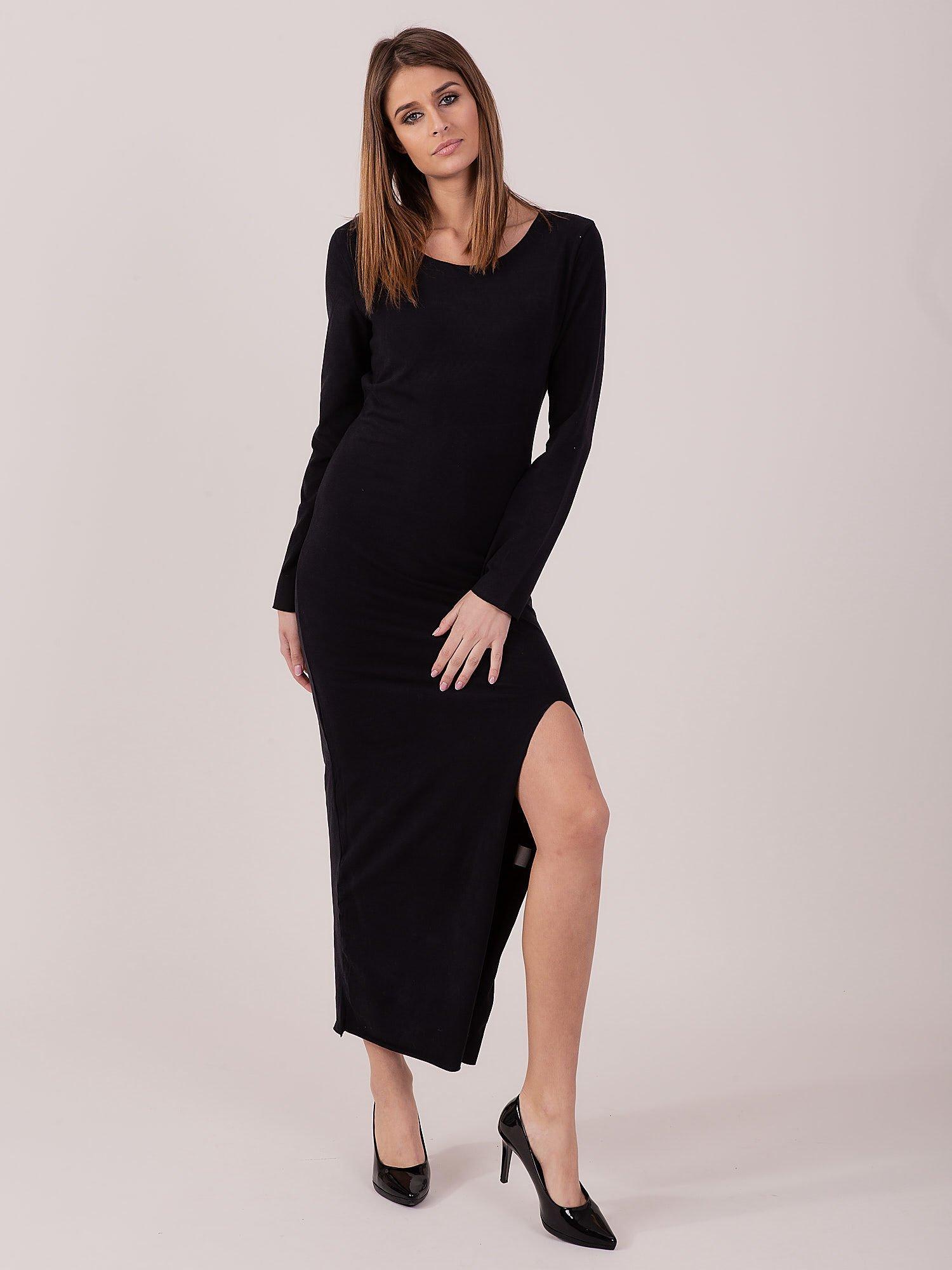 85425b1e Sukienka czarna maxi z rozcięciem