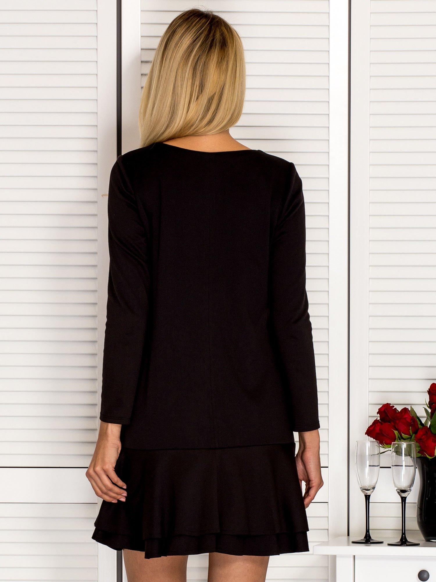 418a089aba Sukienka damska z falbaną na dole czarna - Sukienka z falbaną ...