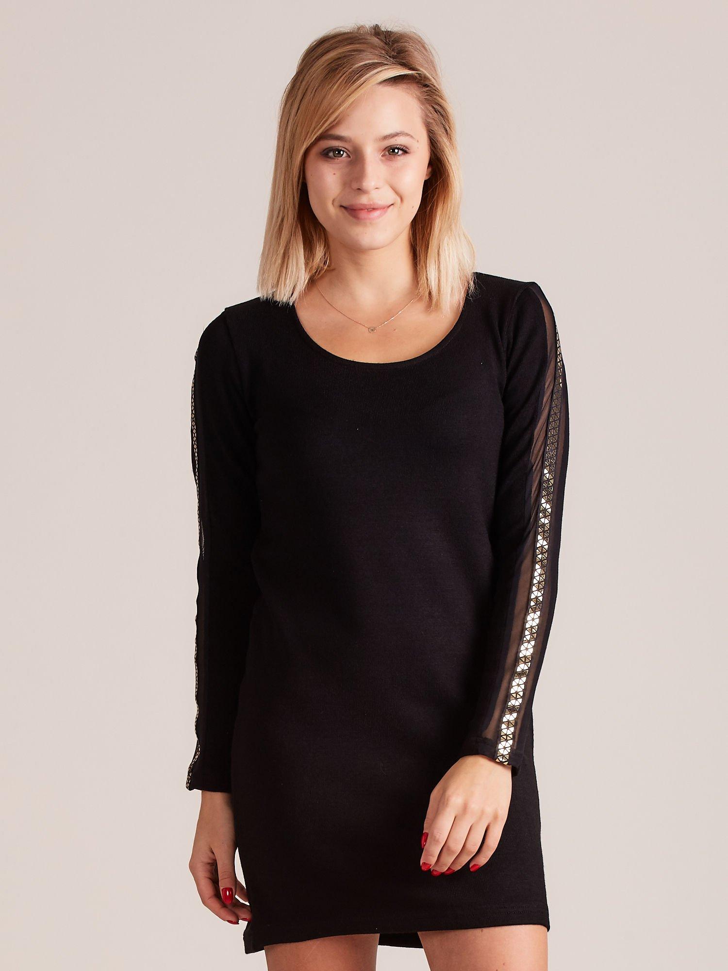 fc0866bc73 Sukienka dzianinowa z ozdobnymi lampasami czarna - Sukienka dzianinowa -  sklep eButik.pl