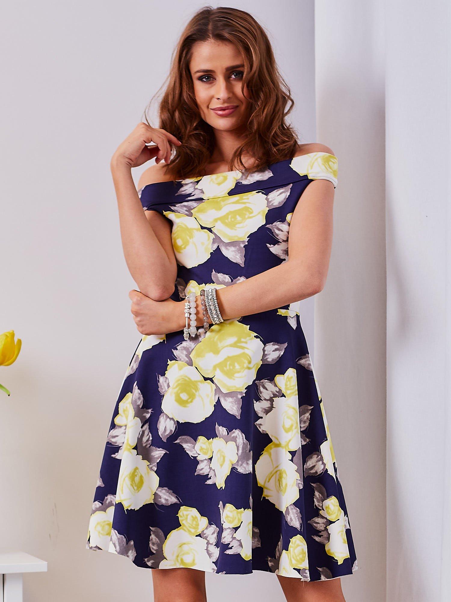 65e65d139ebe9 Sukienka granatowa w żółte kwiaty - Sukienka koktajlowa - sklep eButik.pl