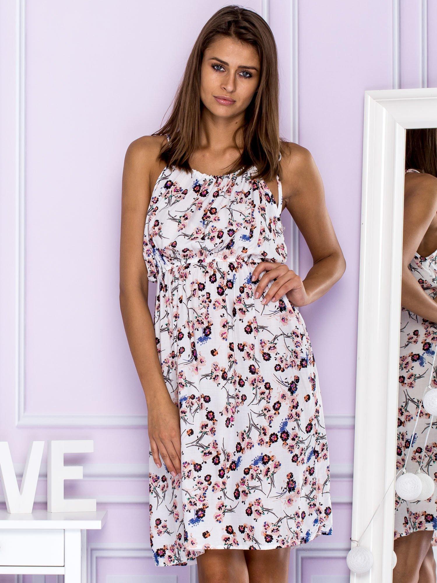 6e2d5571e42ab5 Sukienka letnia w drobne kwiatki biała - Sukienka na co dzień ...