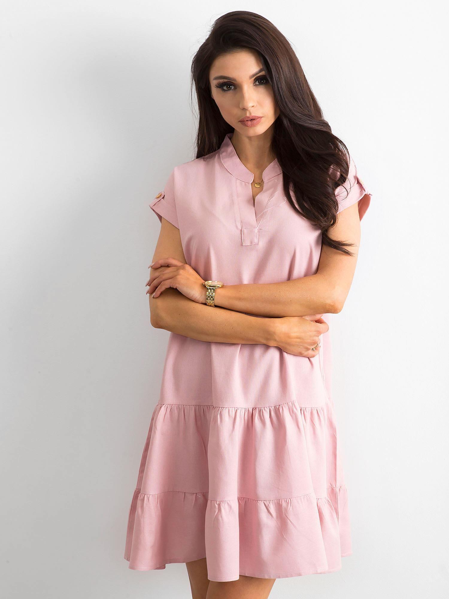 24555f83 Sukienka z falbaną różowa